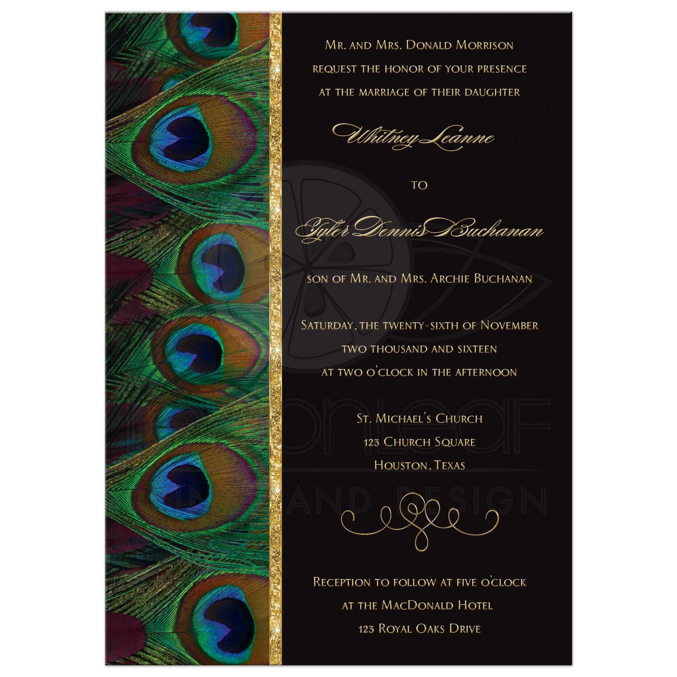 Painted Couple Peacock Wedding Gifts Unique Delicate Home: Wedding Invitation
