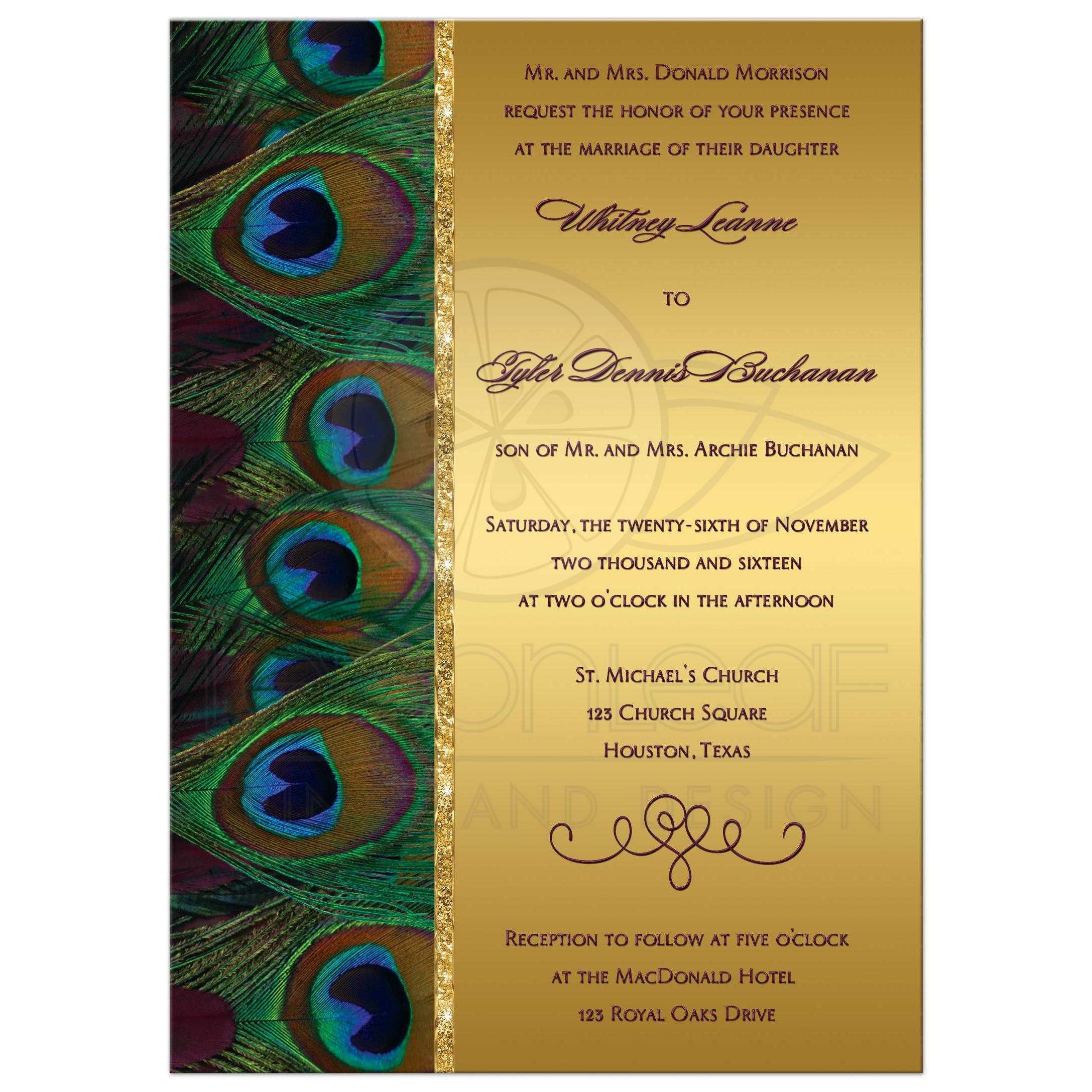 Peacock Feathers Wedding Invitation In Plum Burgundy And Gold