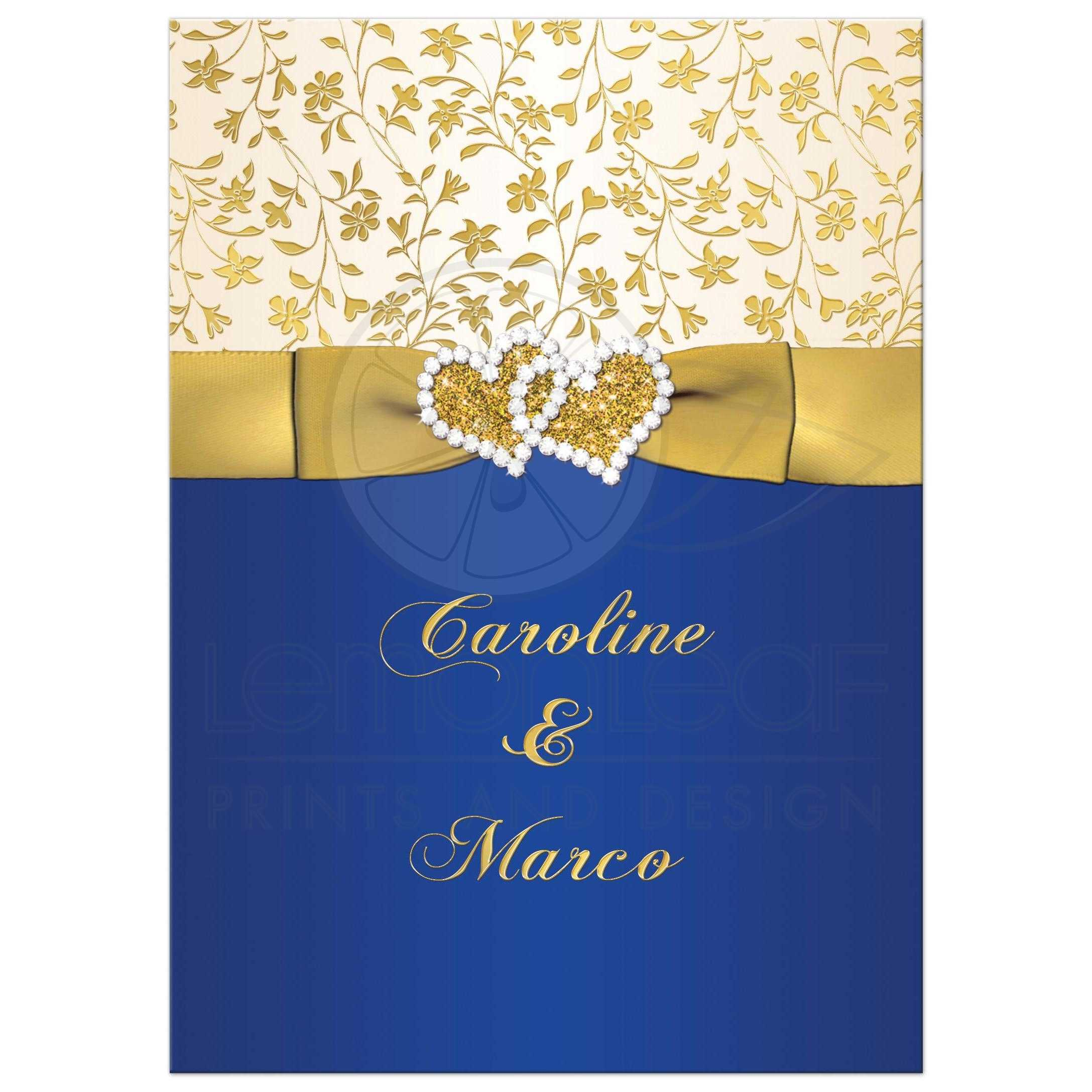 Best 40th Wedding Anniversary Invitation In Royal Blue, Ivory, And Gold  Floral With Ribbon ...
