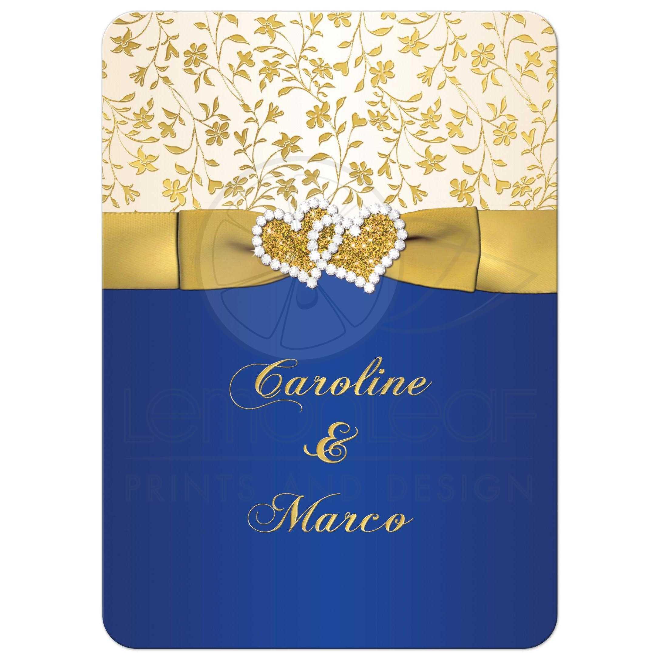 Gold And Blue Wedding Invitations: 40th Wedding Anniversary Invite