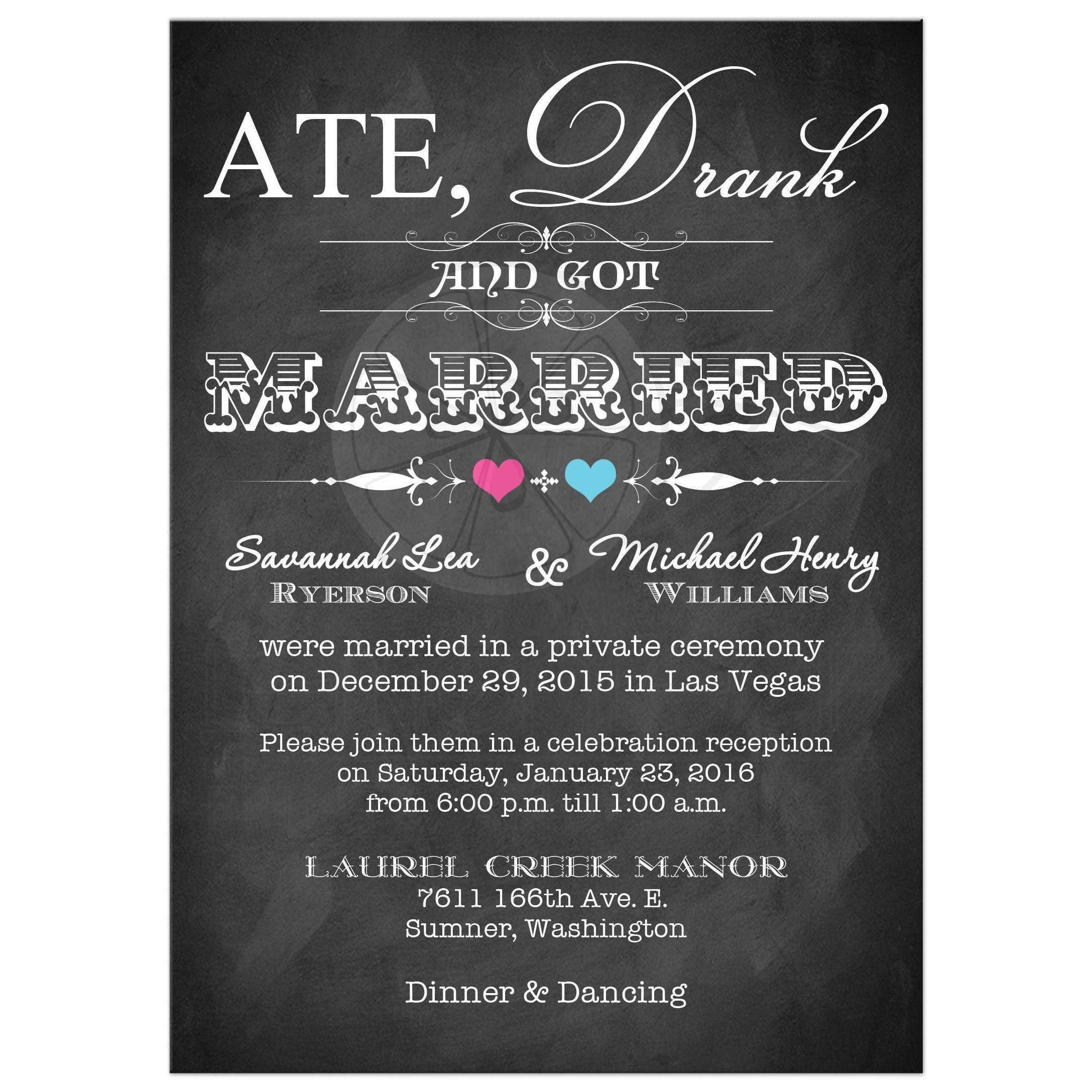 PostWedding Invitation Chalkboard Scrolls Pink and Blue Hearts