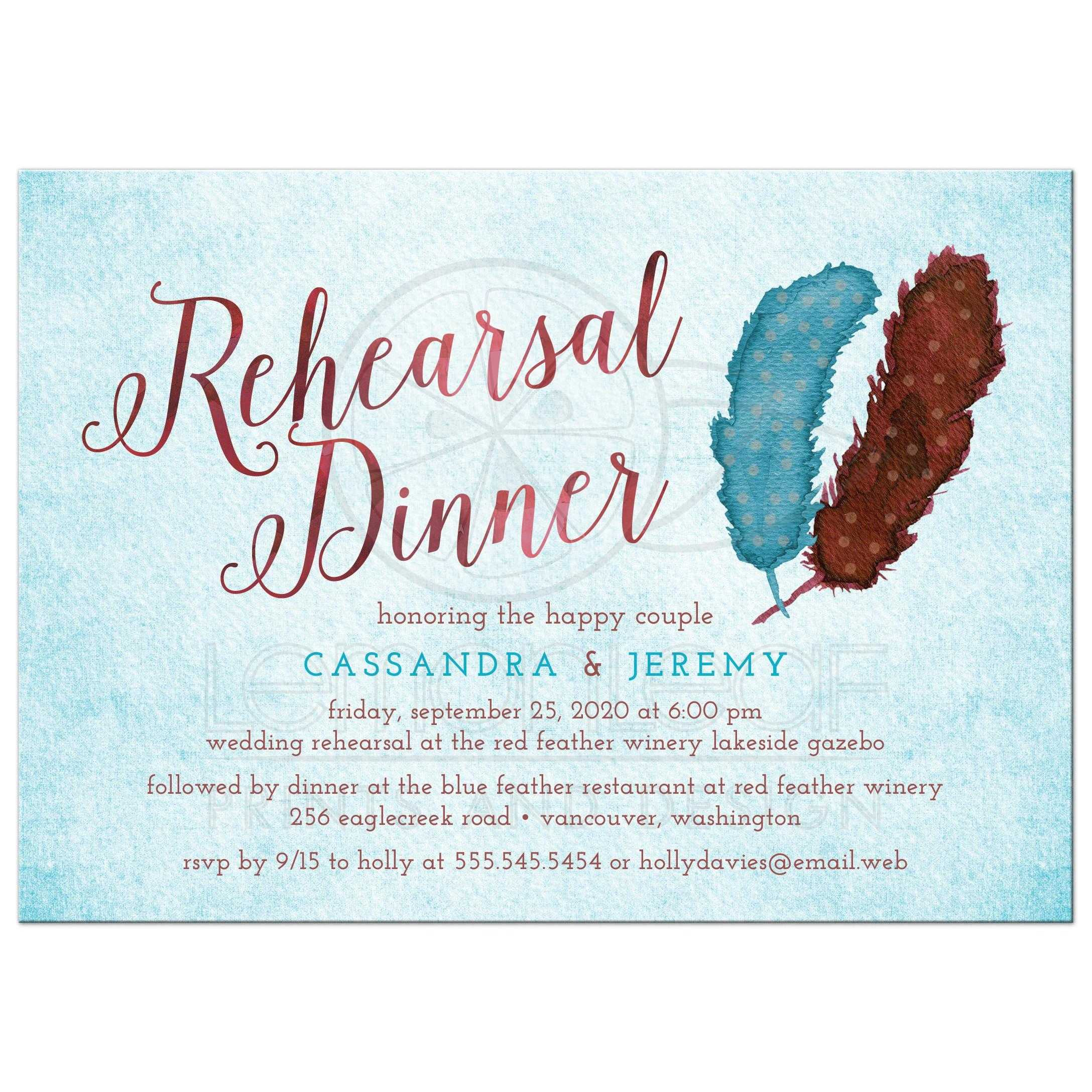 Rehearsal Dinner Invitations - Painted Watercolor Feathers