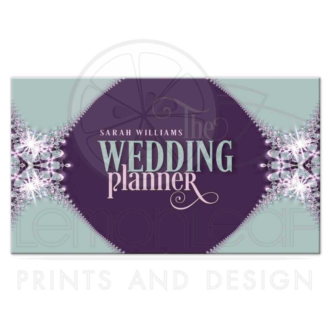 purple mint sparkle lace wedding planner business card - Wedding Planner Business Cards