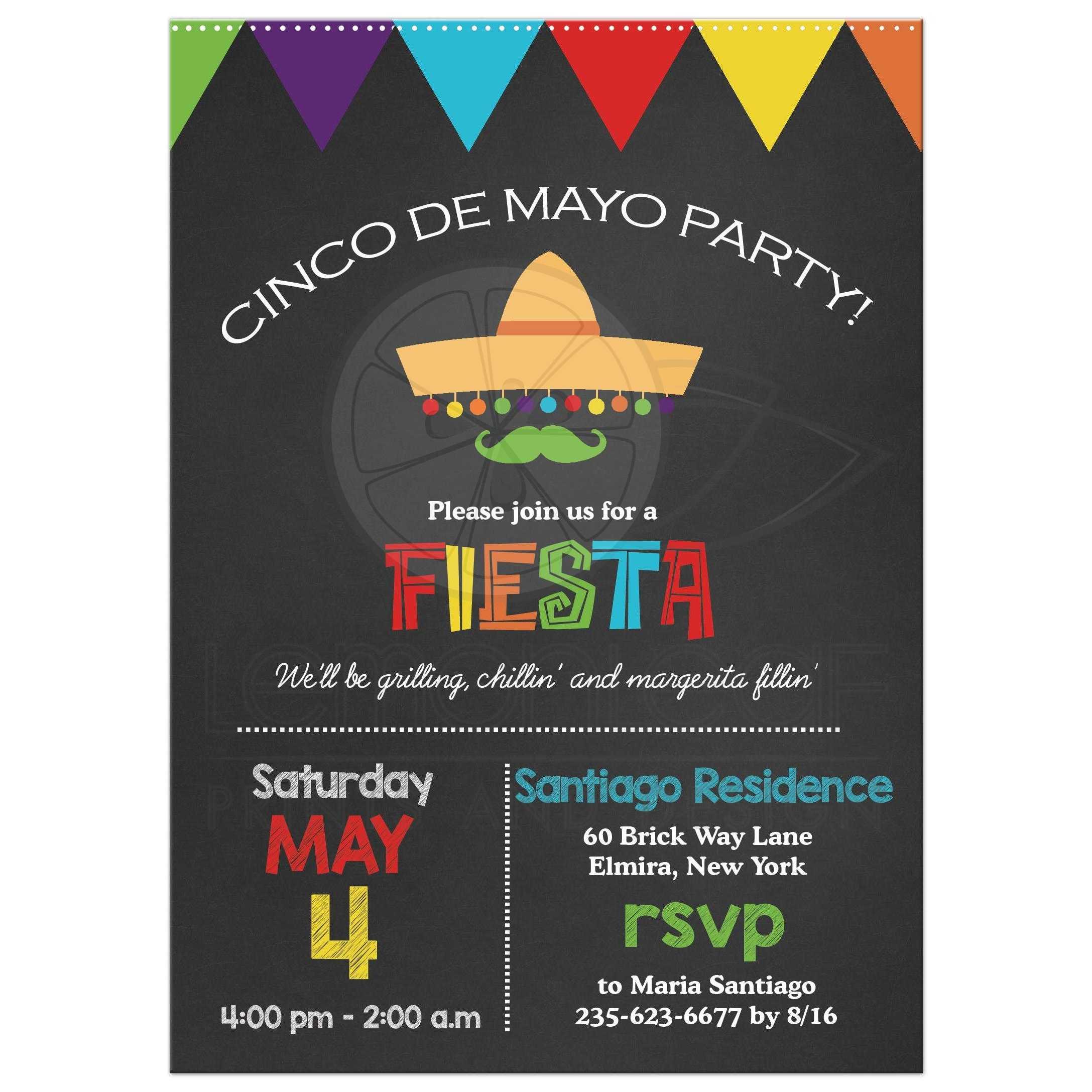 Cinco de Mayo Chalkboard Fiesta Party Invitation