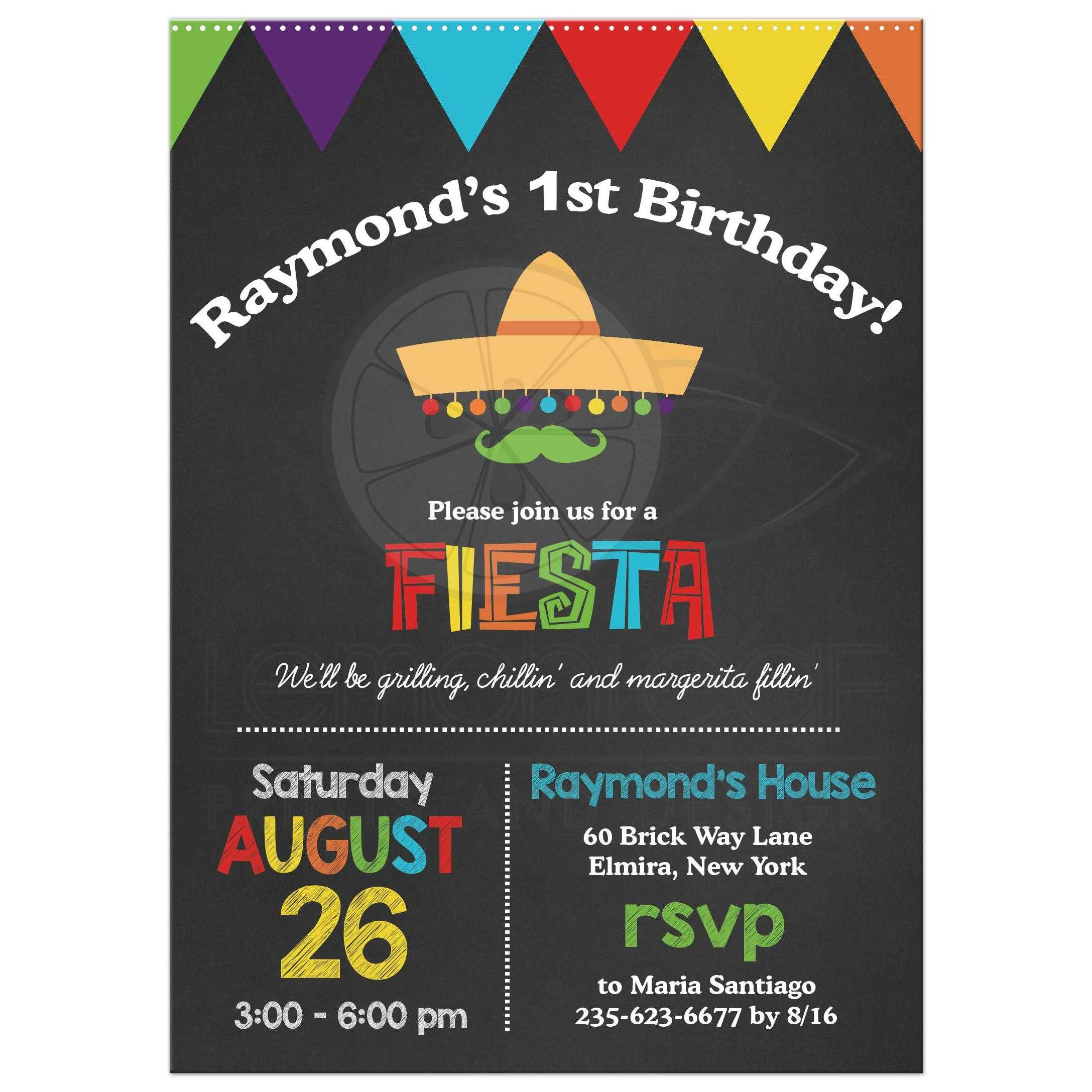 Fiesta chalkboard 1st birthday invitation 1st birthday chalkboard fiesta party invitation filmwisefo