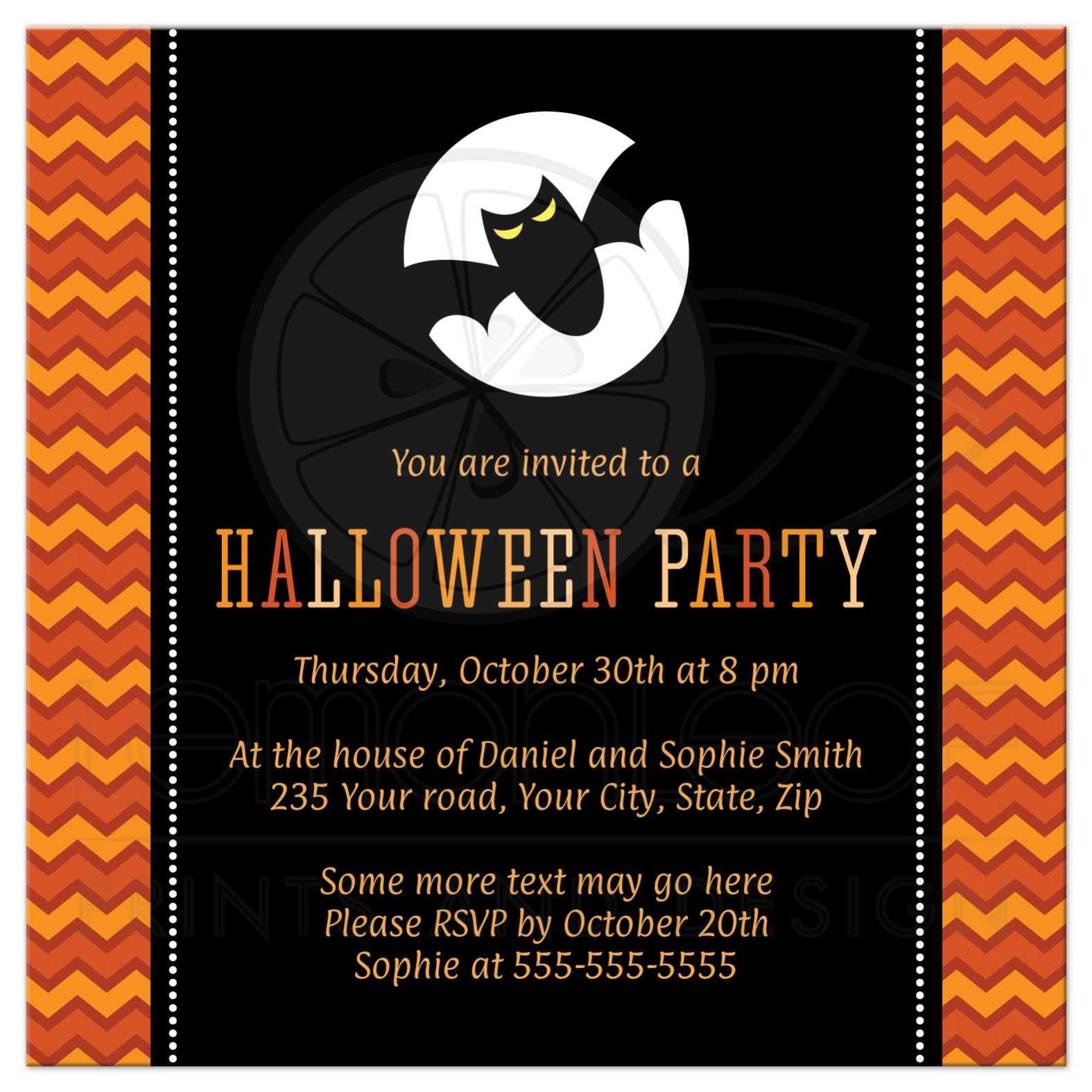 Halloween party invitation with orange chevron zigzag pattern and bat