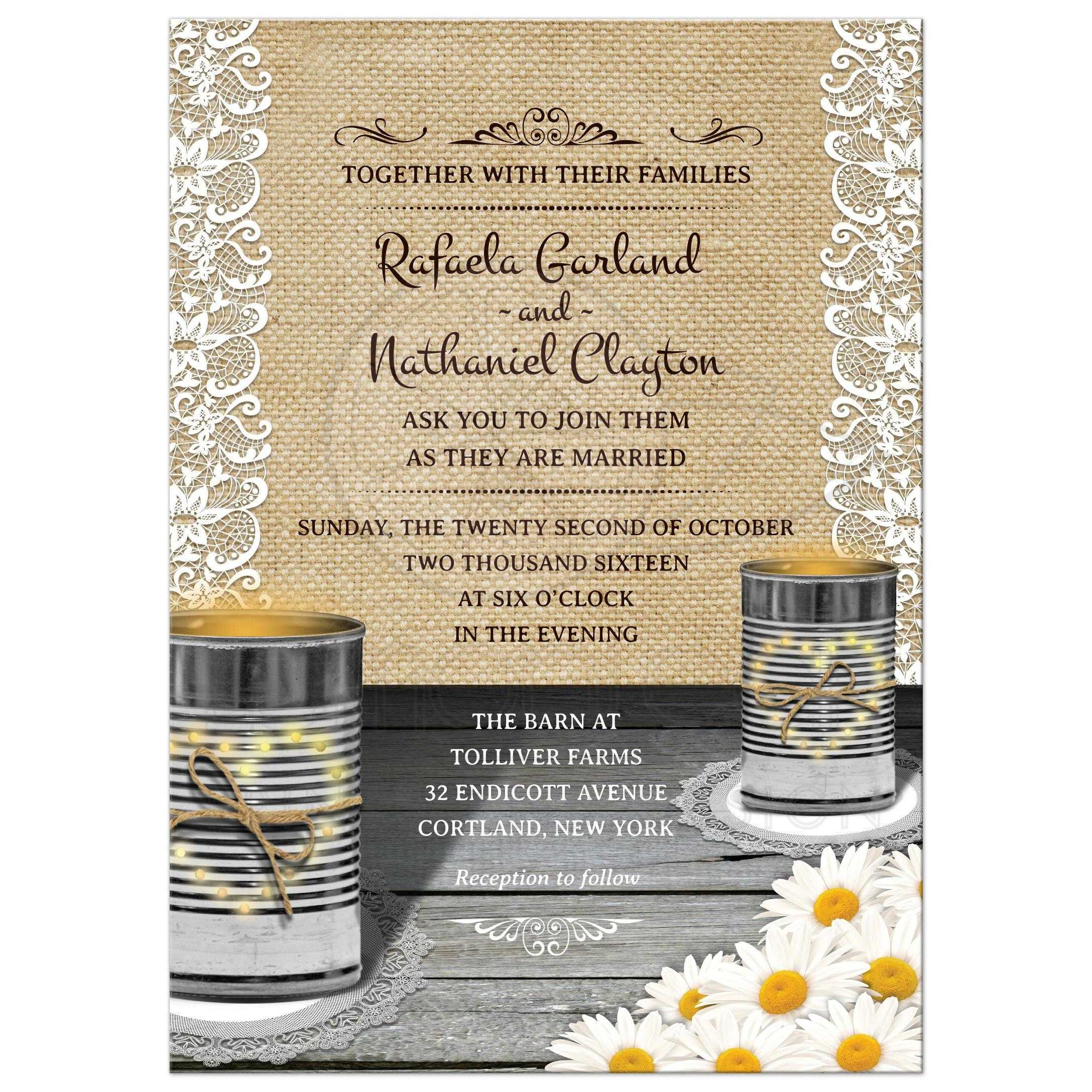 Rustic Daisy Wedding Invitations: Rustic Tin Can Lace And Daisies Wedding