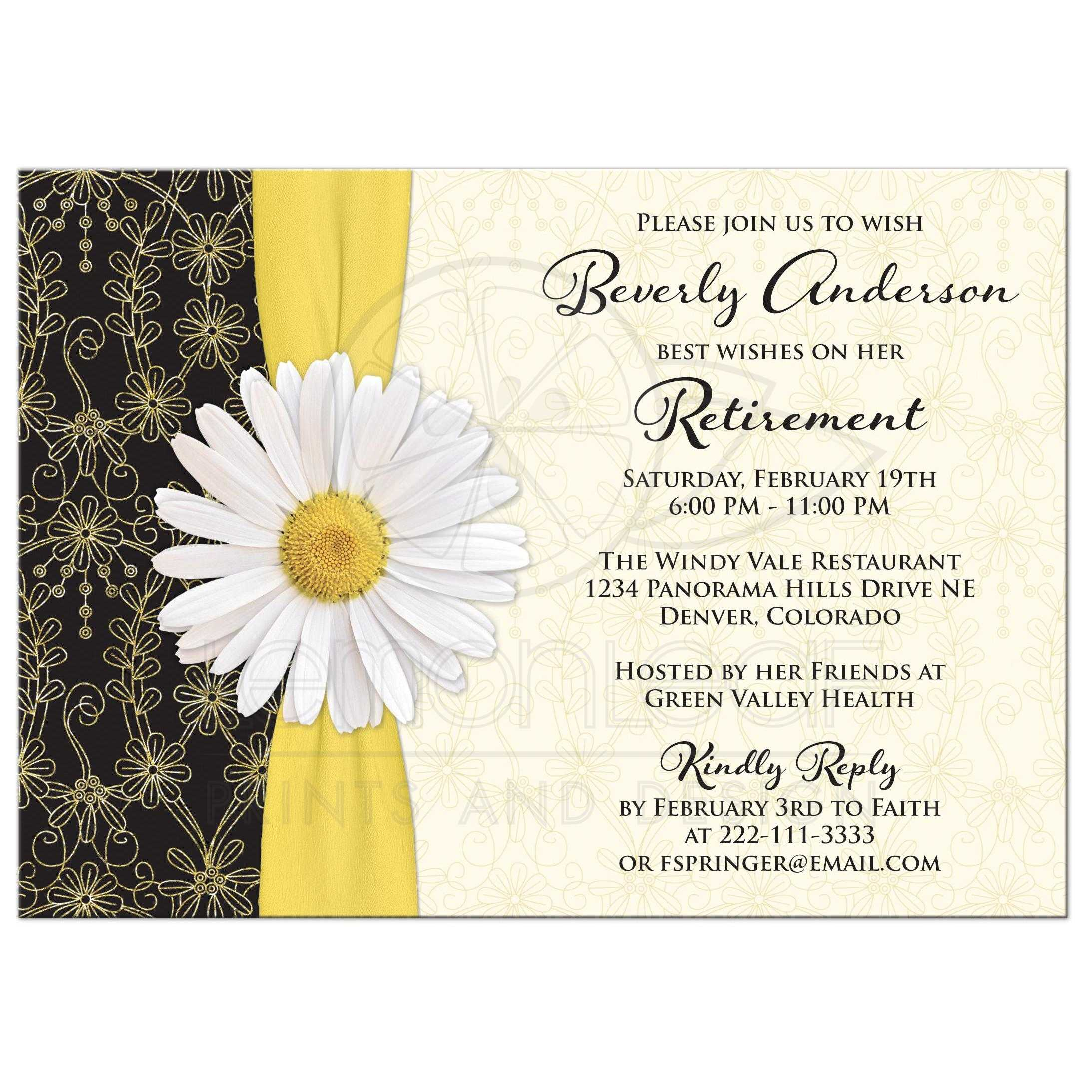 Attractive White Daisy, Gold Yellow Ribbon, Black And Gold Floral Lace Retirement  Party Invitation Front ...