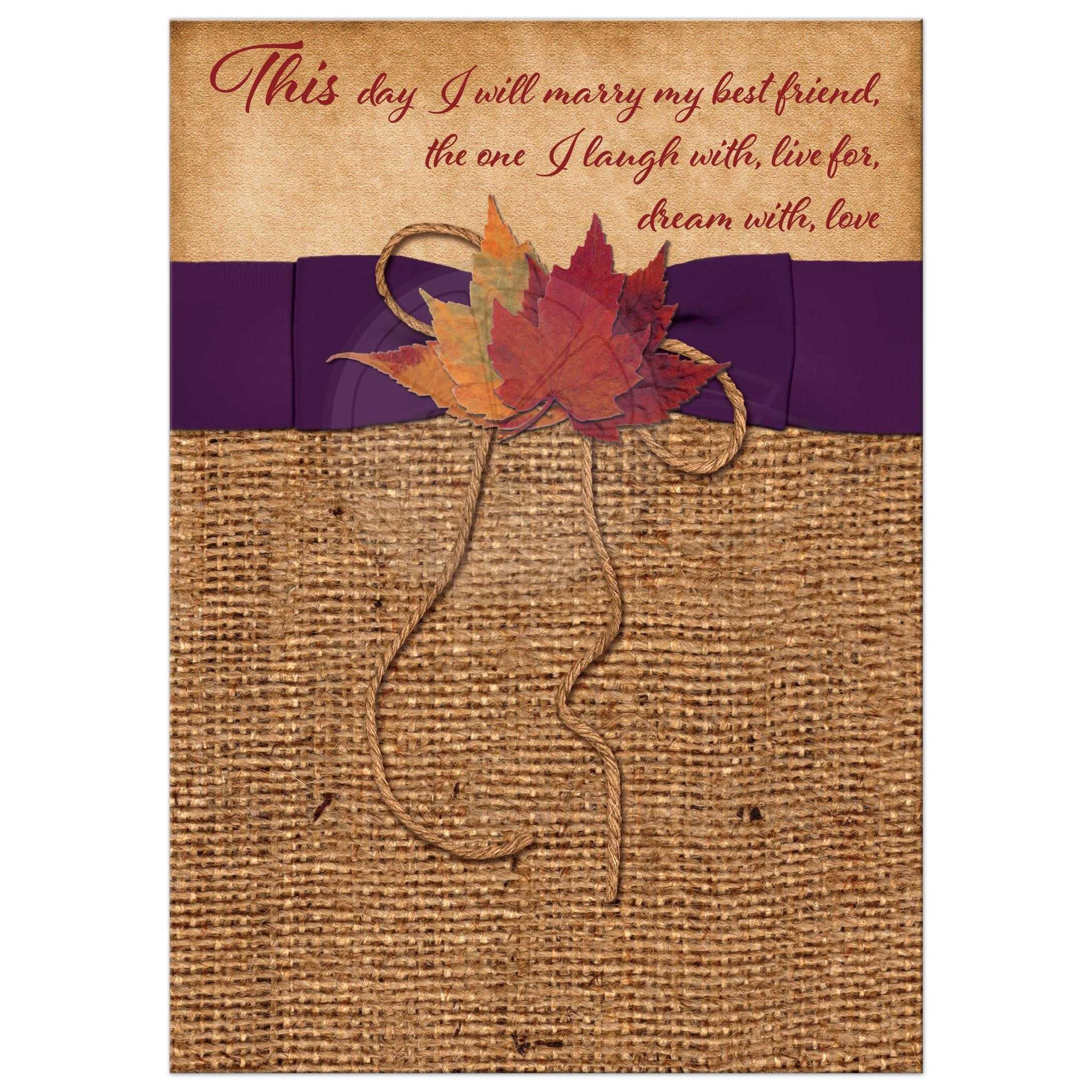 Autumn Leaves On Faux Burlap