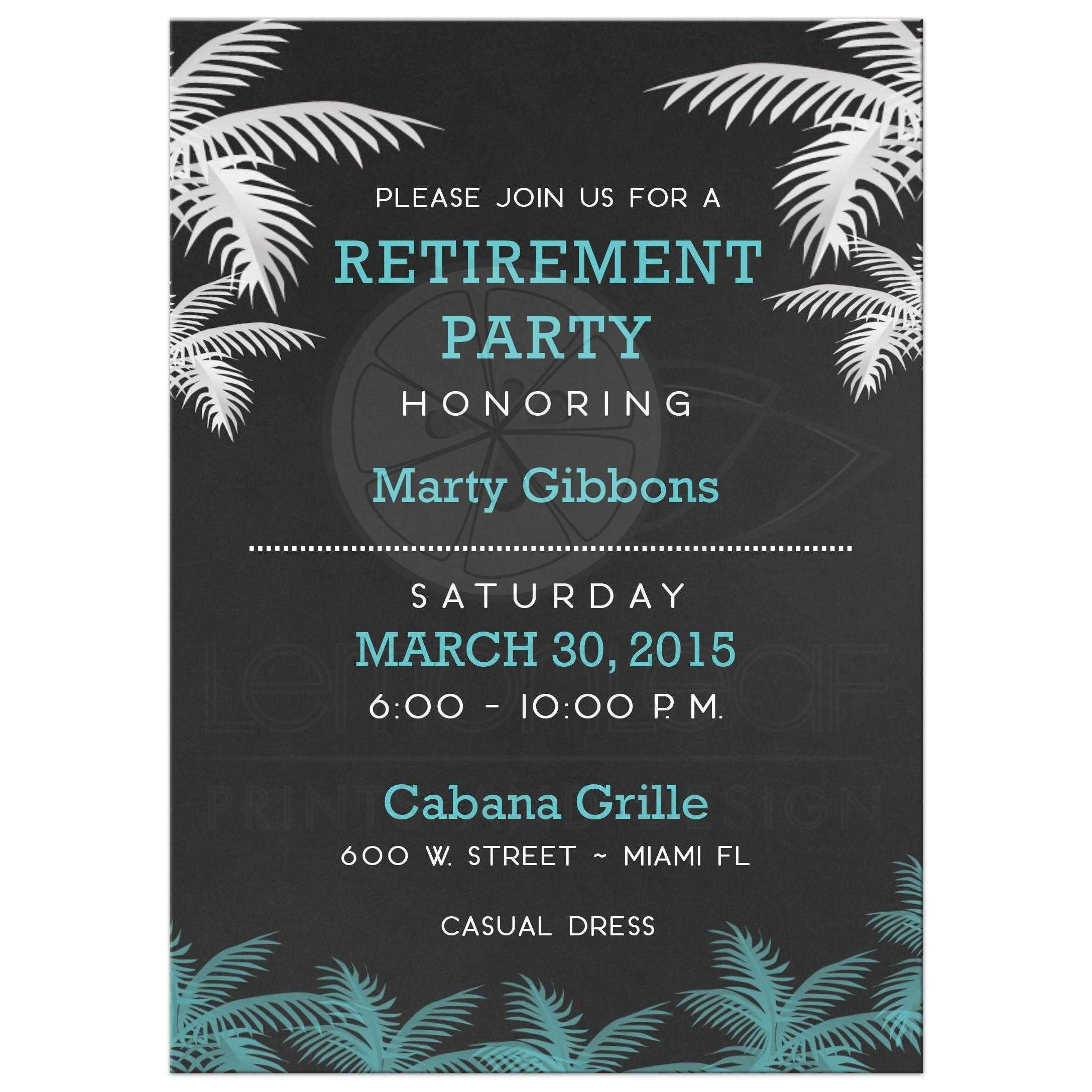 Tropical Palm Tree Retirement Party Invitations ...