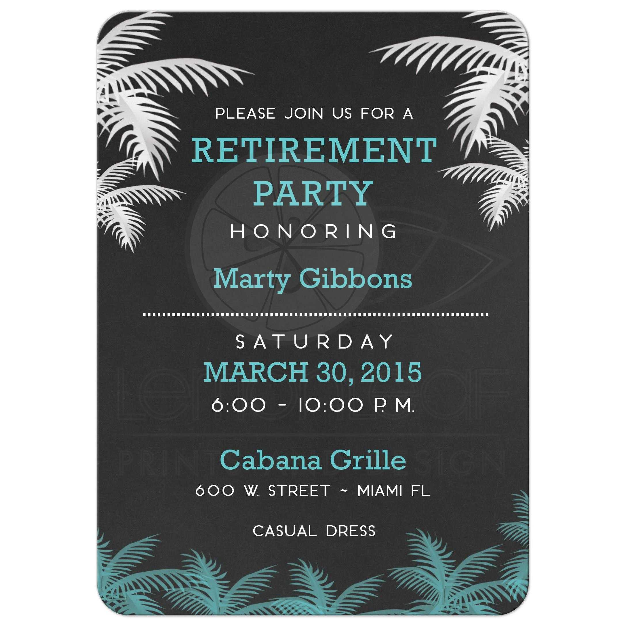 Palm Tree Tropical Chalkboard Retirement Party Invitation