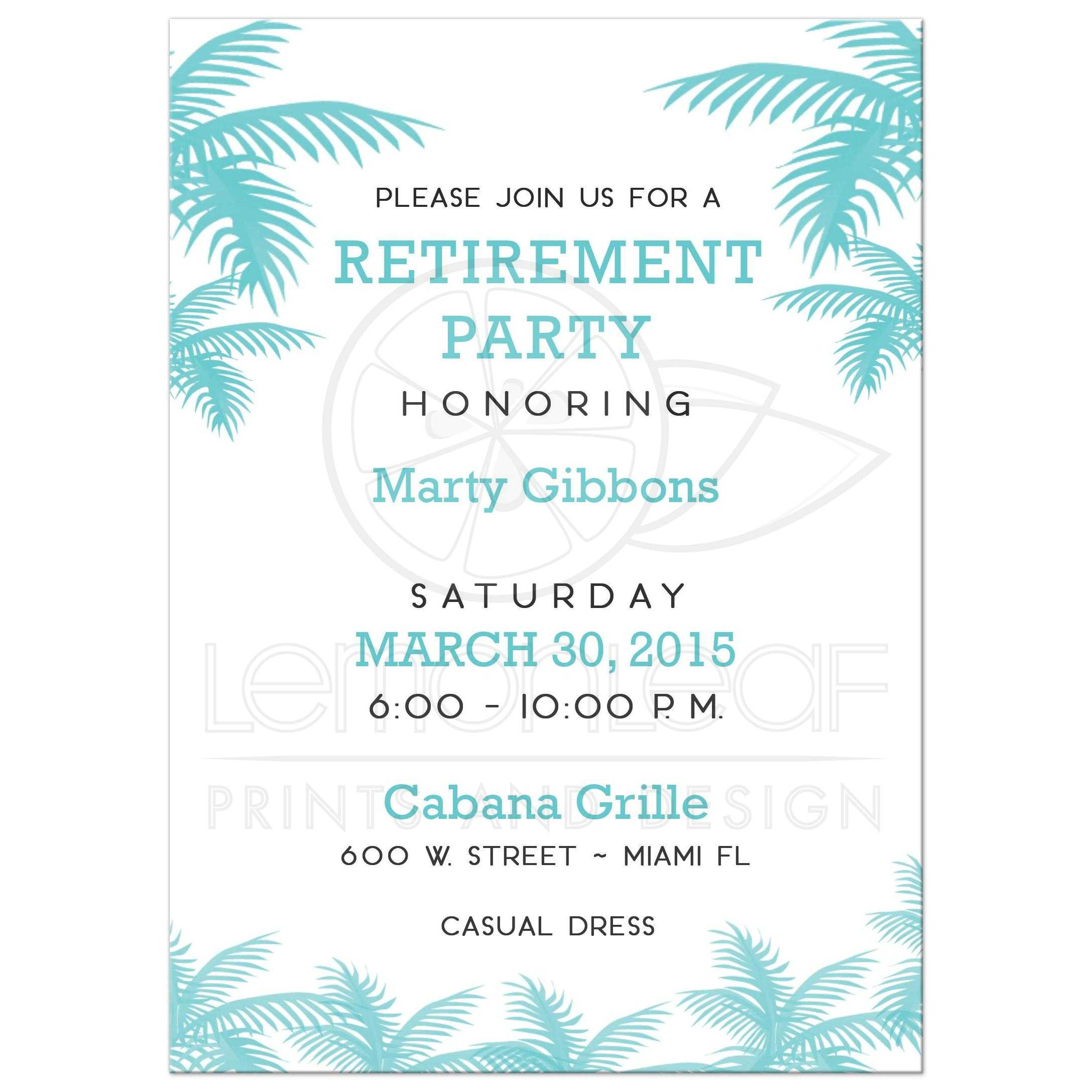Palm Tree Tropical Retirement Party Invitation