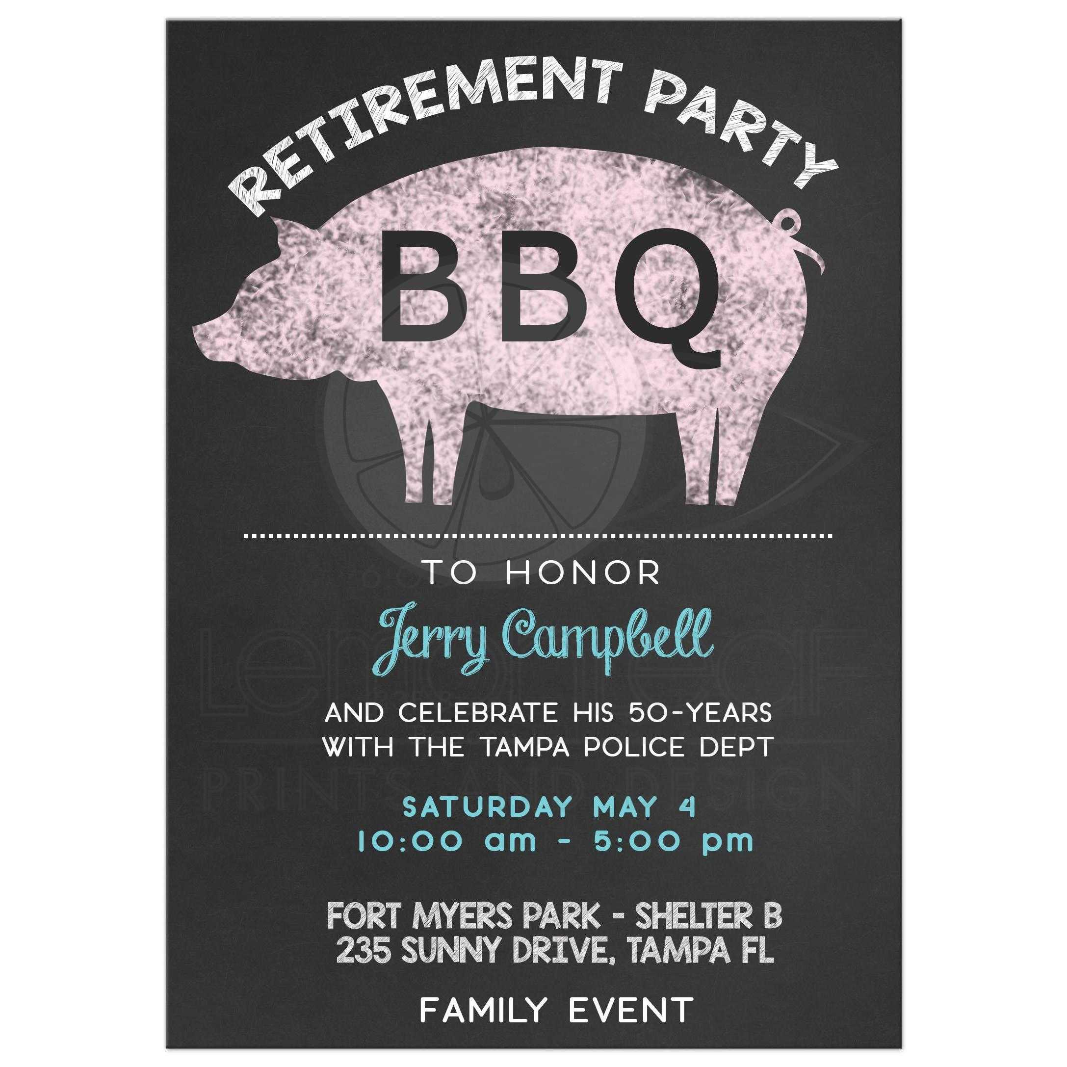 BBQ Pig Roast Chalkboard Retirement Party Invitation
