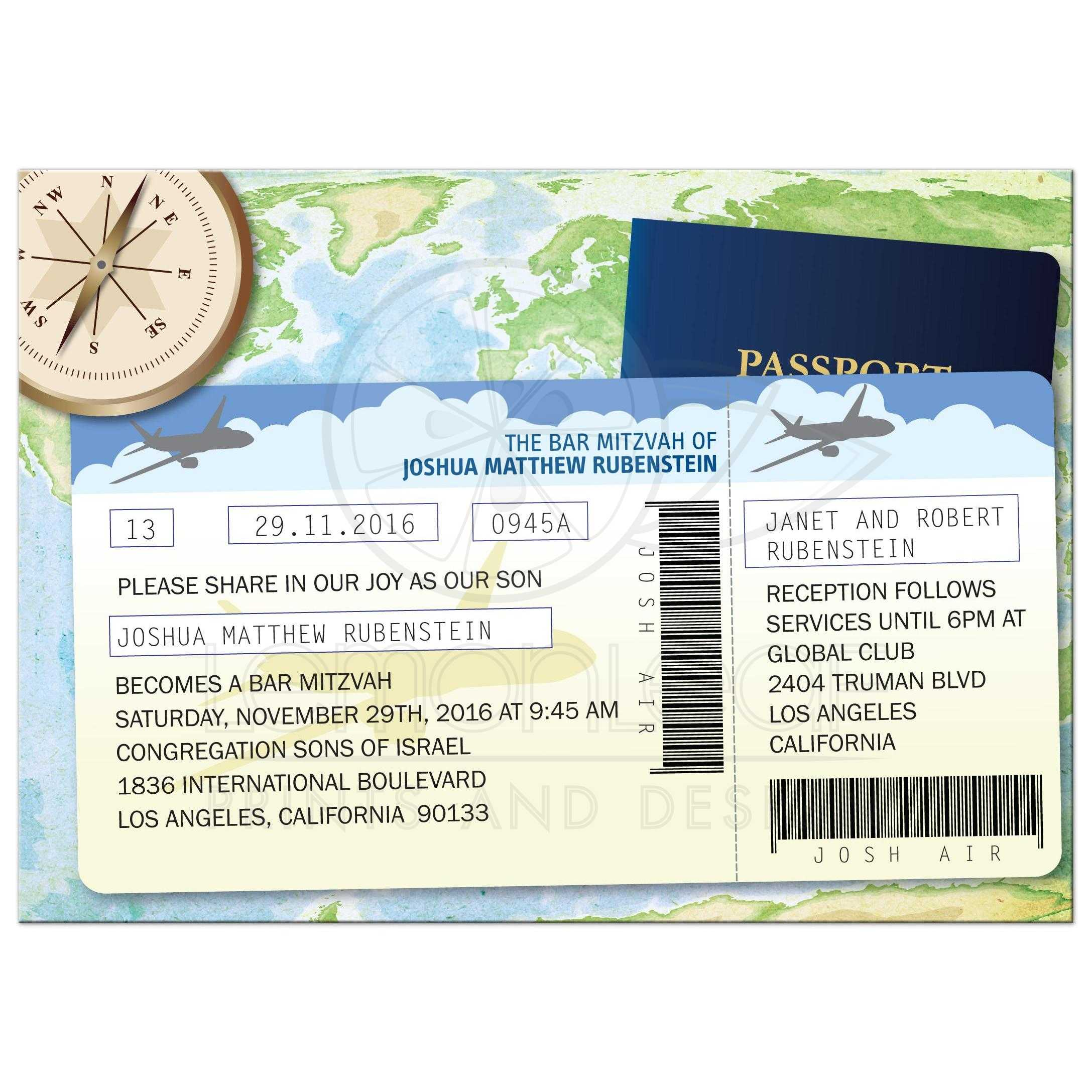 Bar Bat Mitzvah Invitation - World Travel Theme Documents