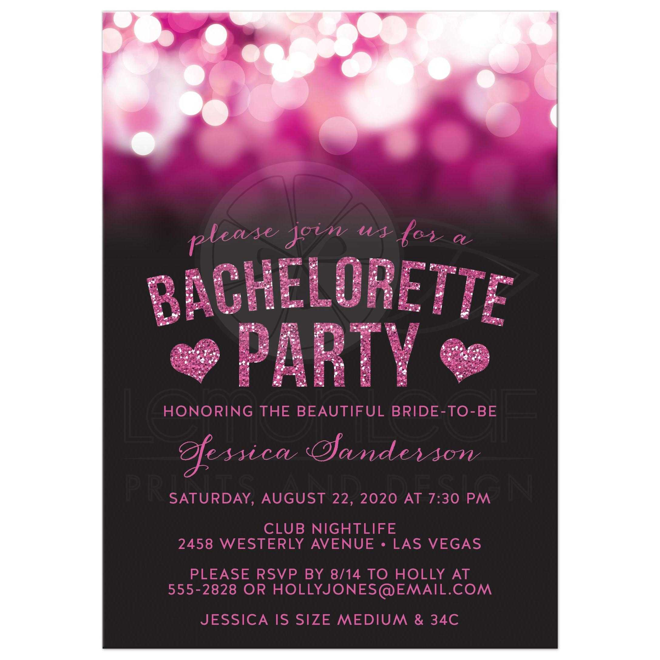 Bachelorette Party Invitations Hot Pink Party Lights Glitter