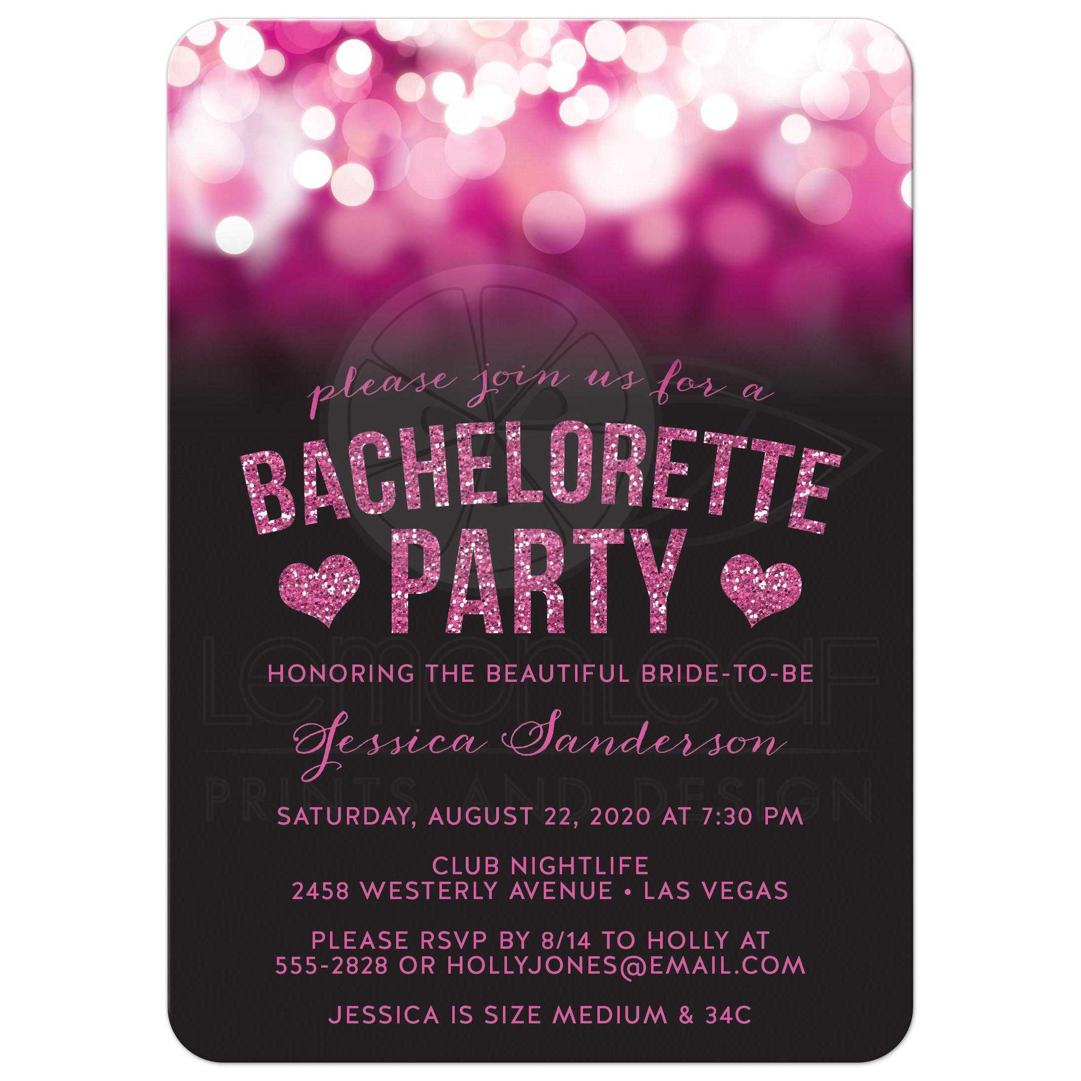 Bachelorette Party Invitations Hot Pink Party Lights