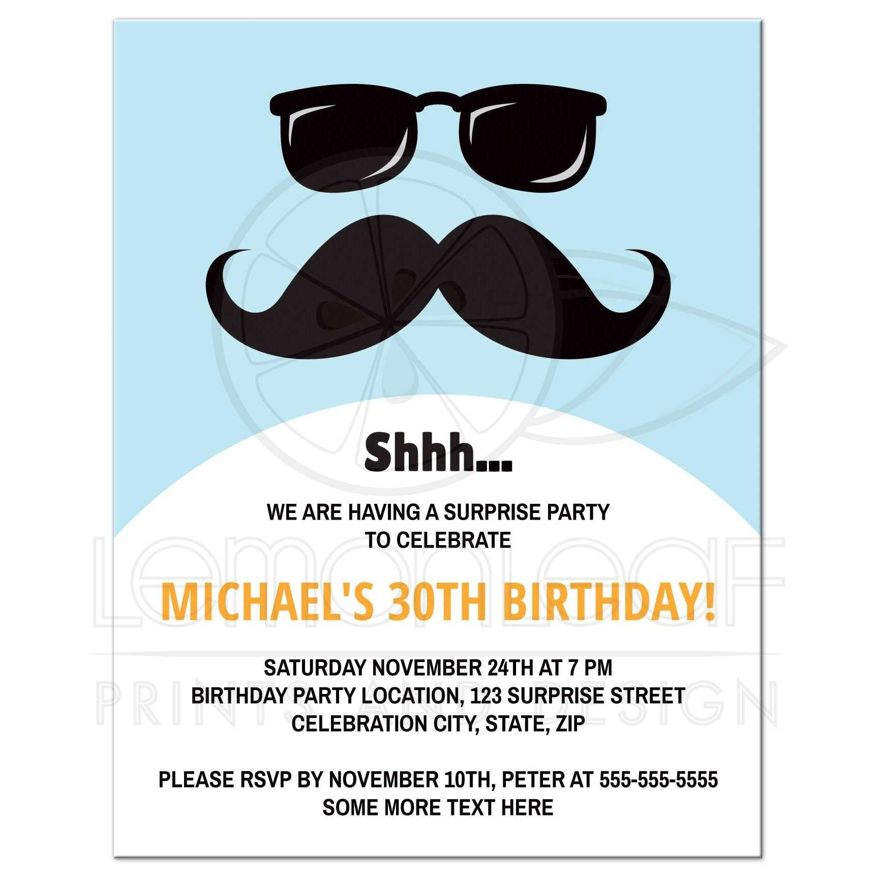 blue incognito surprise birthday party invite with moustache and glasses