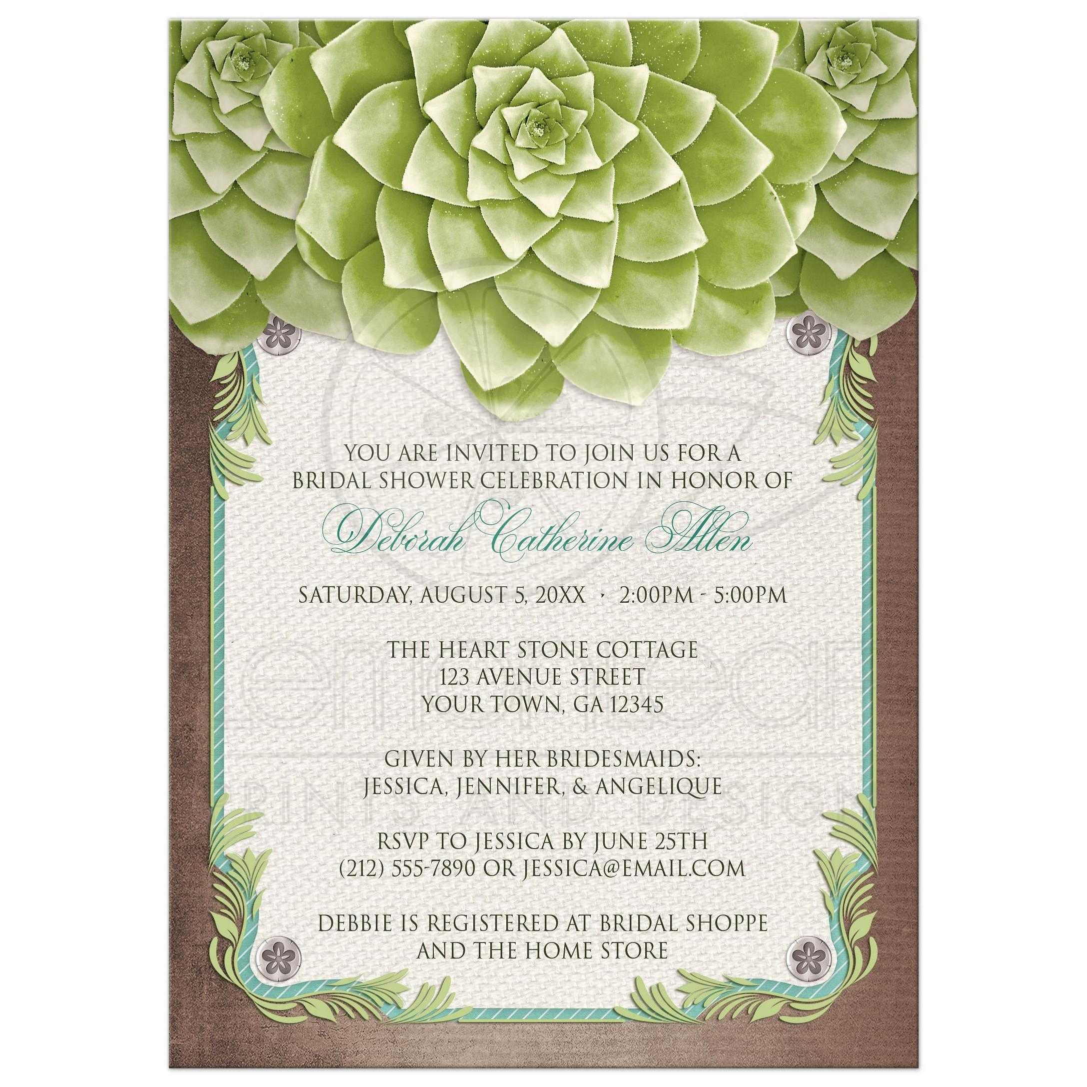 Bridal Shower Invitations - Rustic Succulent Garden