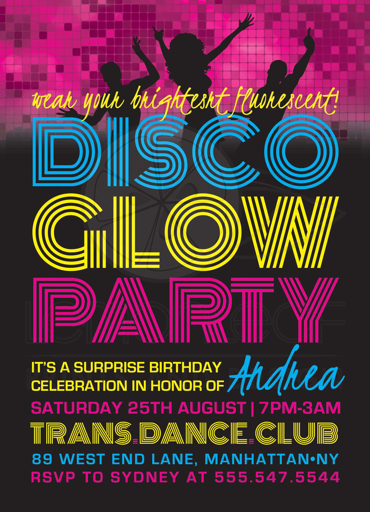Teen Birthday Party Invitations - Disco Glow Party