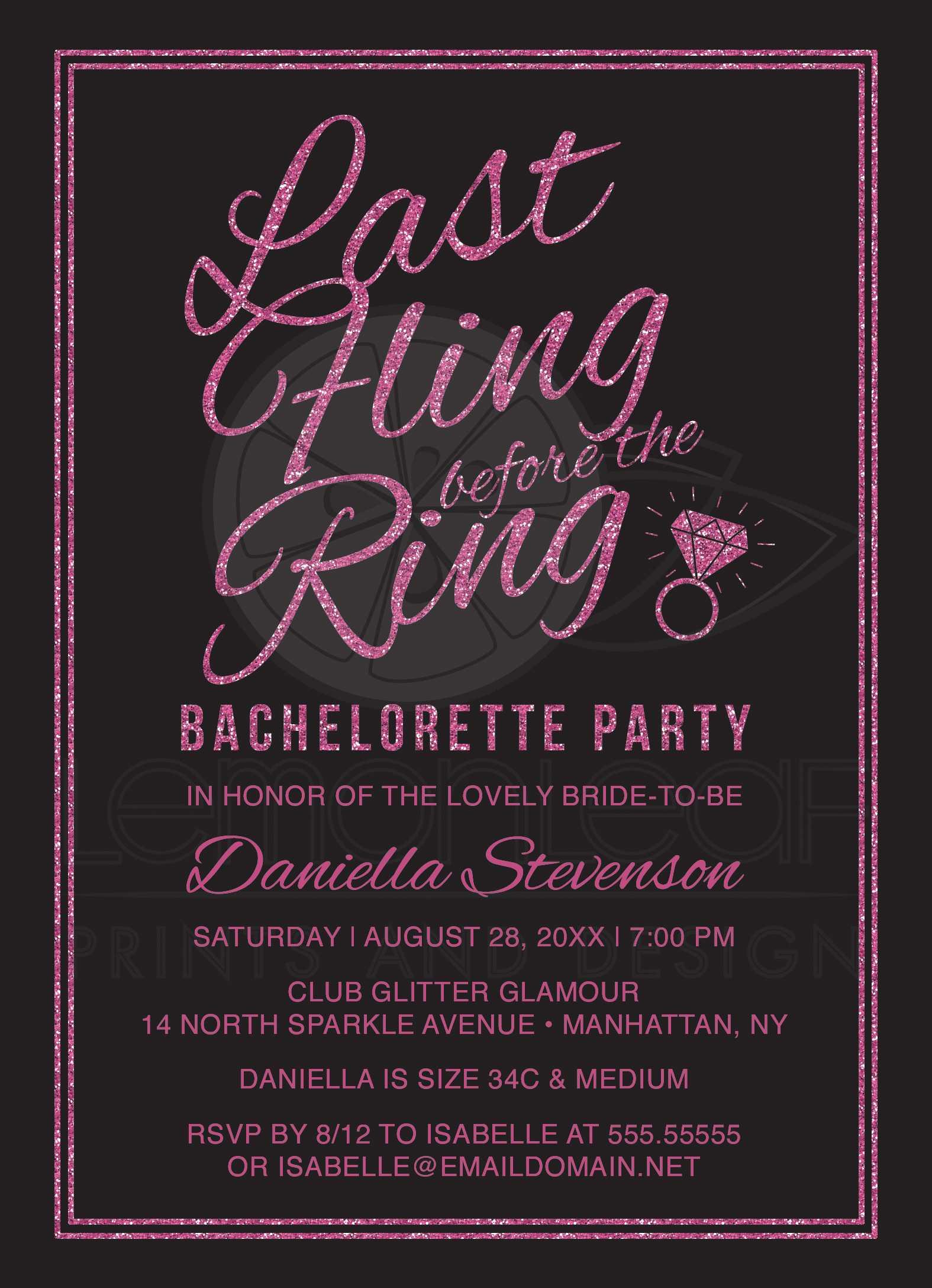 Bachelorette Party Invitations - Hot Pink Glitter Look Last Fling ...