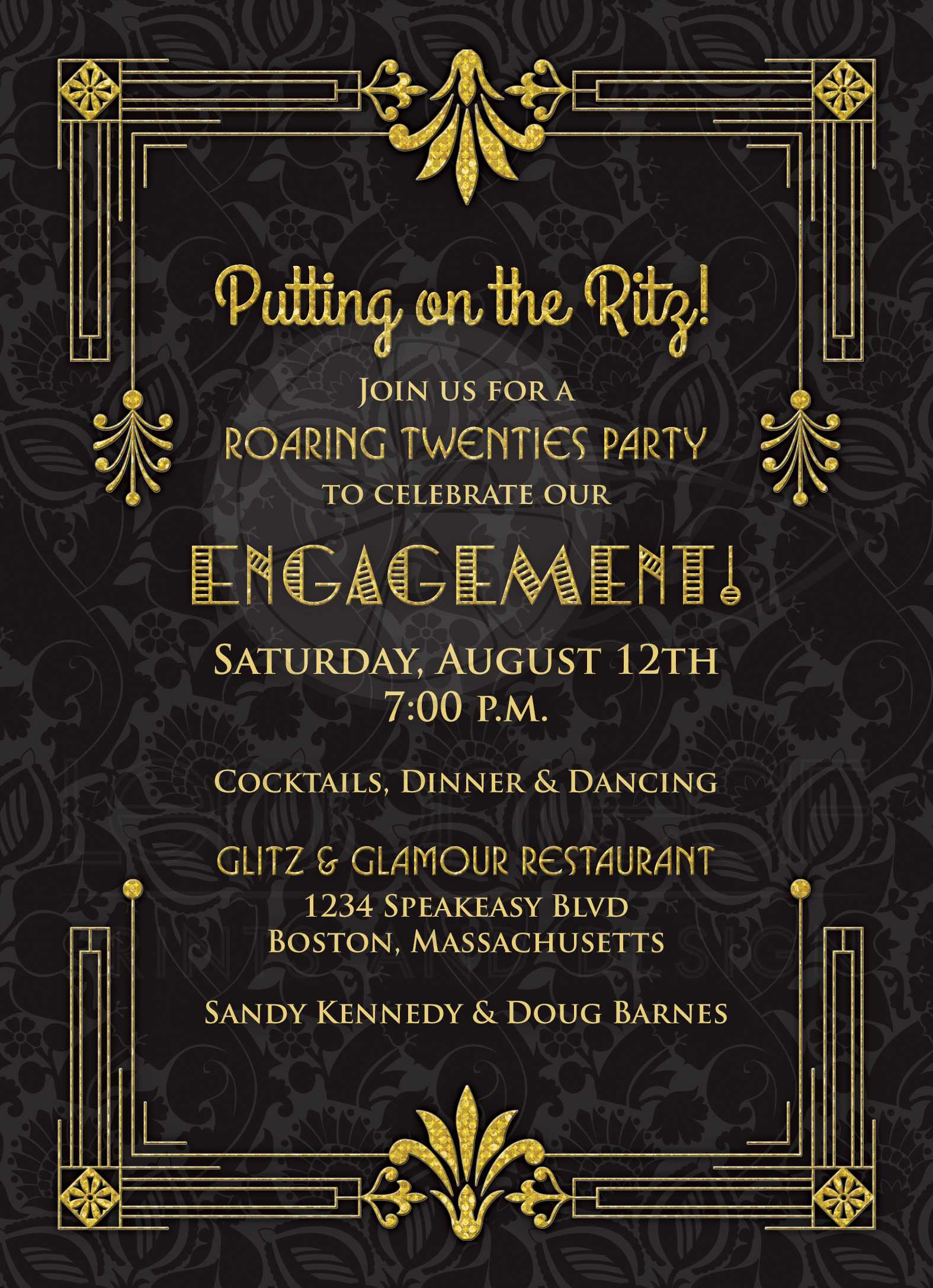 Roaring 20s Engagement Party Invitation Black Gold Art Deco