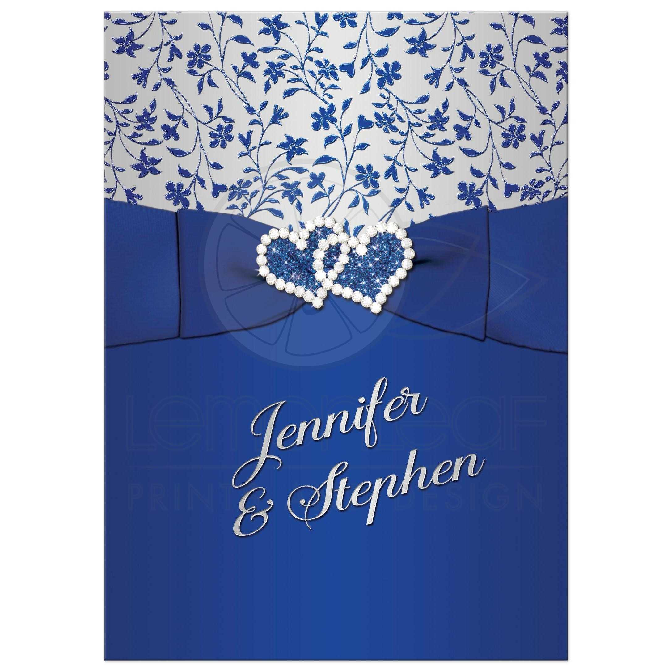 25th Wedding Anniversary Invitation Royal Blue Silver Floral Joined