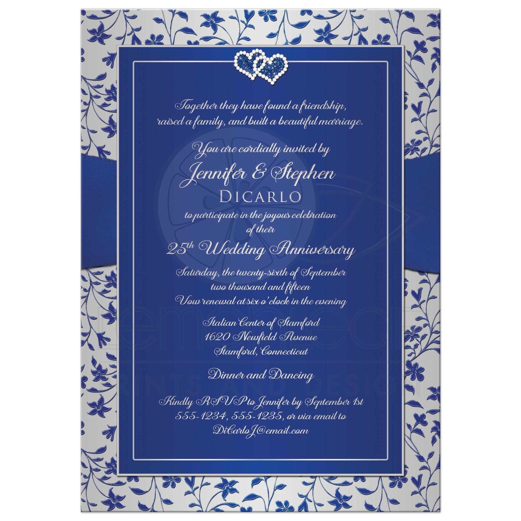 Wedding Invitations Blue And Silver: 25th Wedding Anniversary Invitation