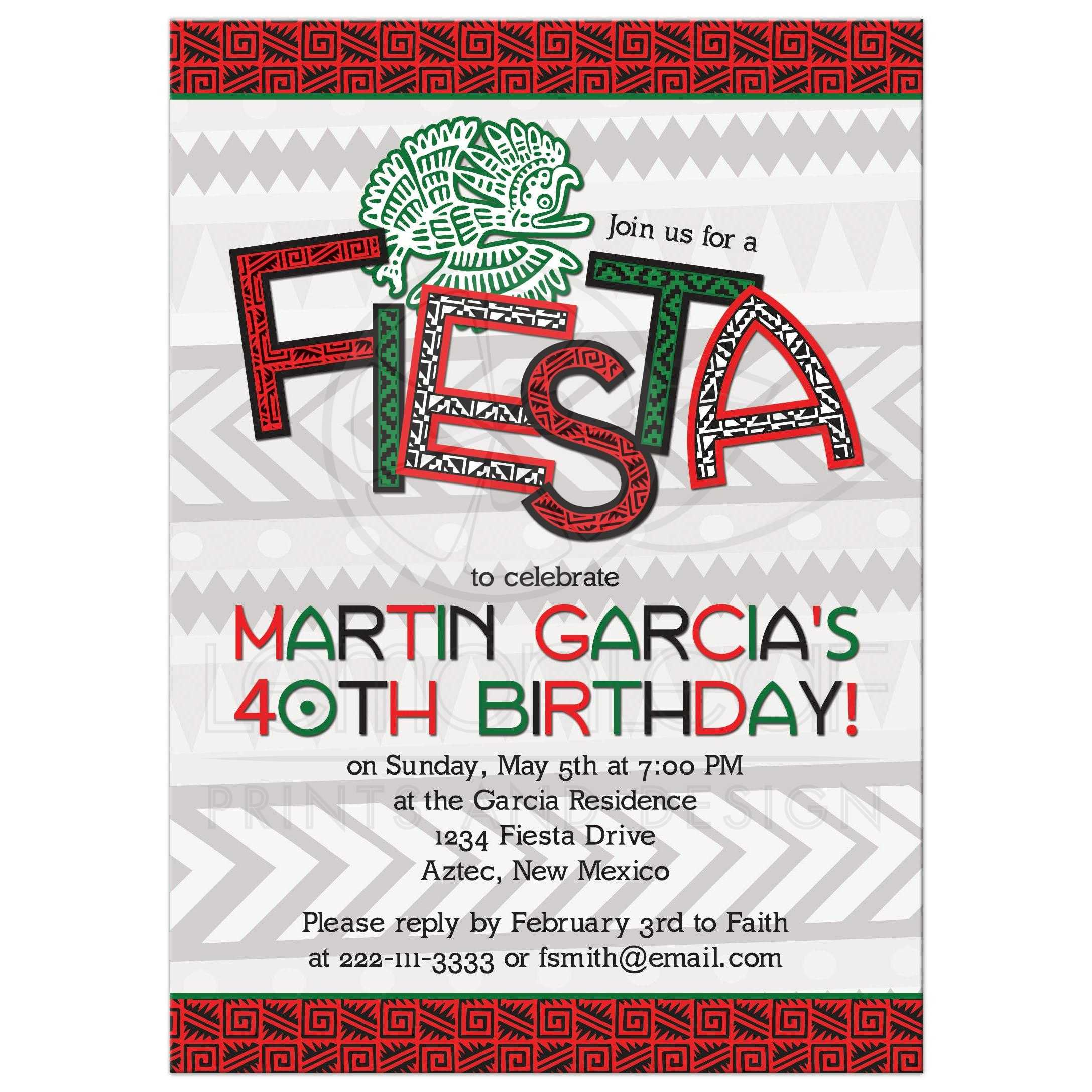 Aztec Mexican Fiesta 40th Birthday Party Invitation | Red Green