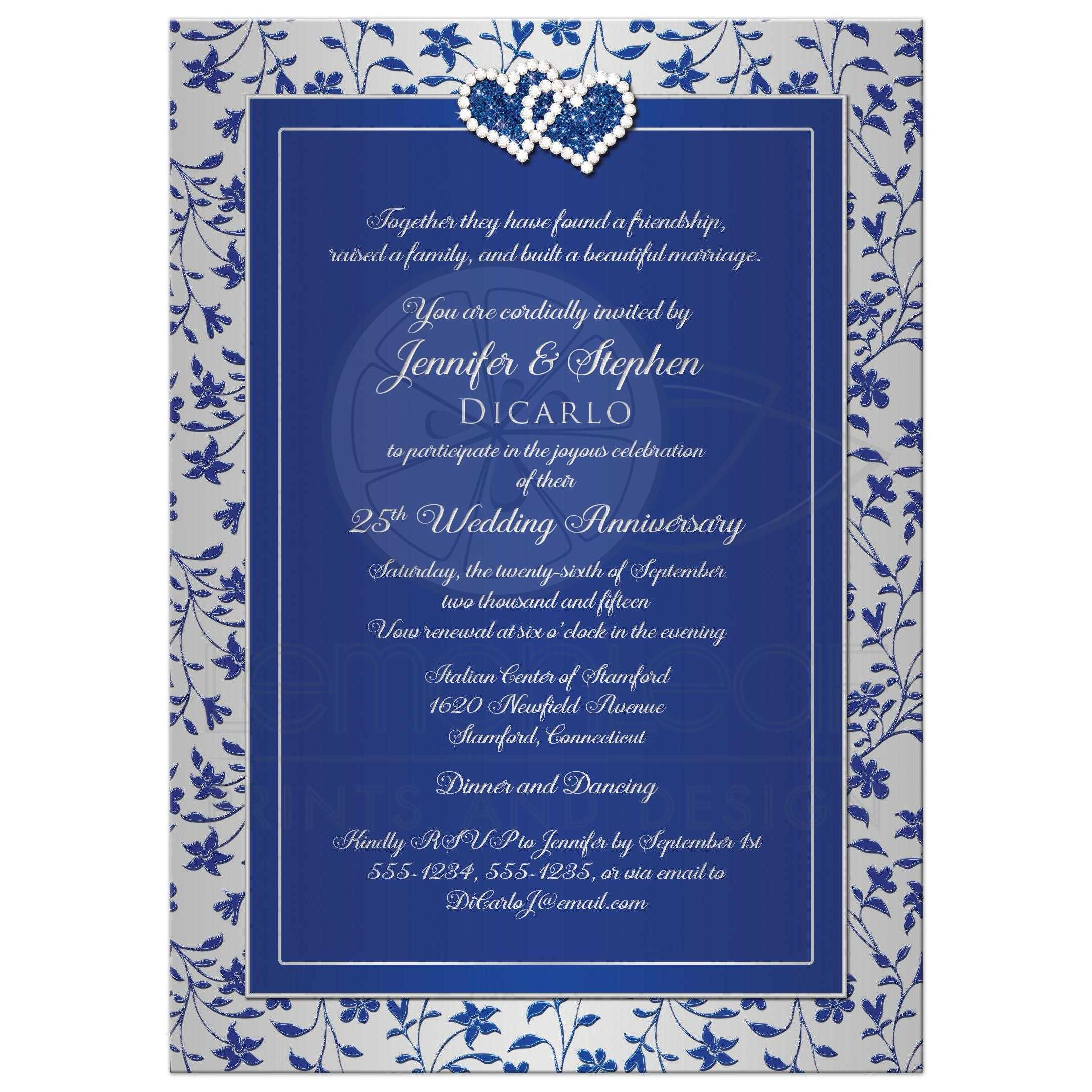 25th Wedding Anniversary Invitation In Royal Blue And Silver ...