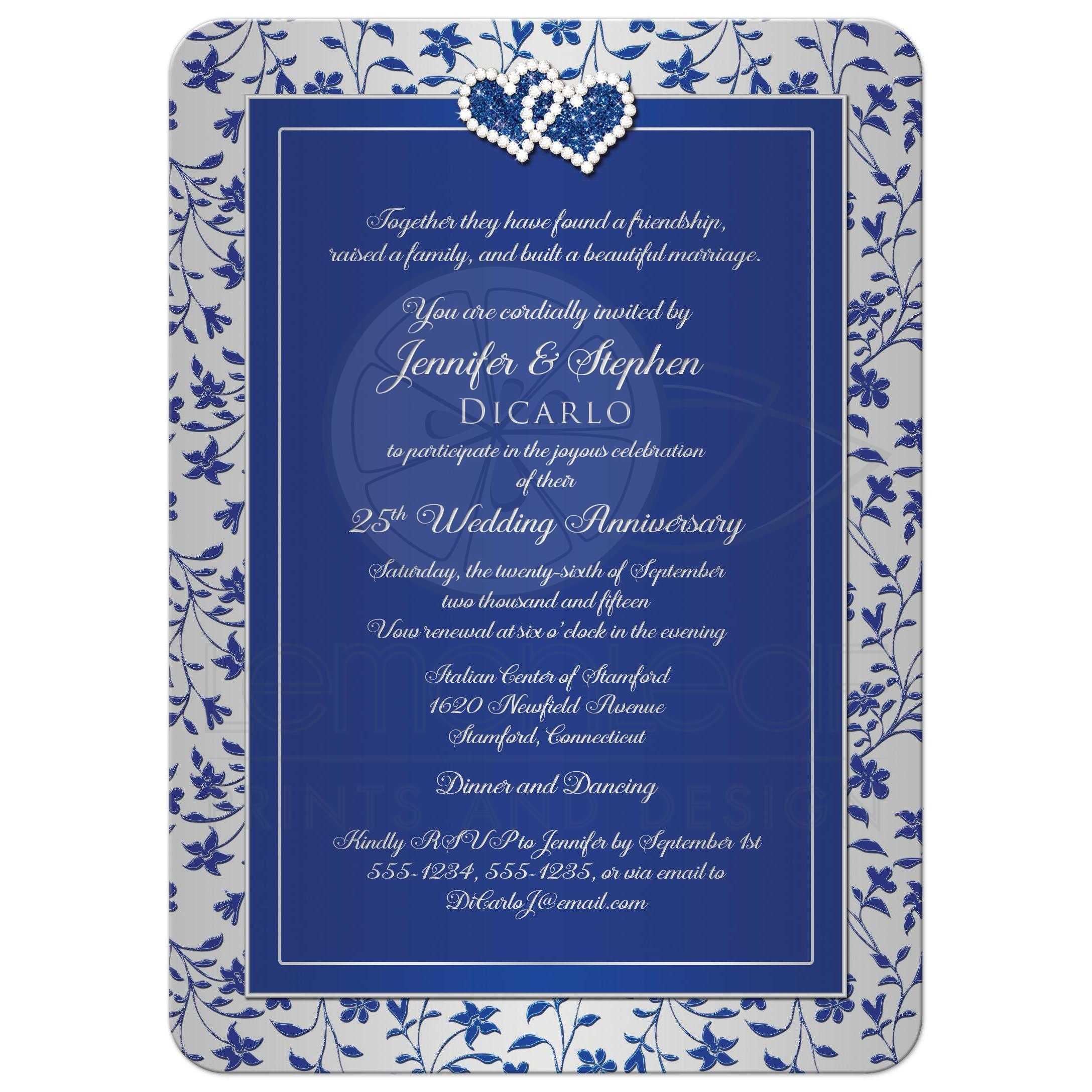 25th Wedding Anniversary Invitation 2 Royal Blue Silver