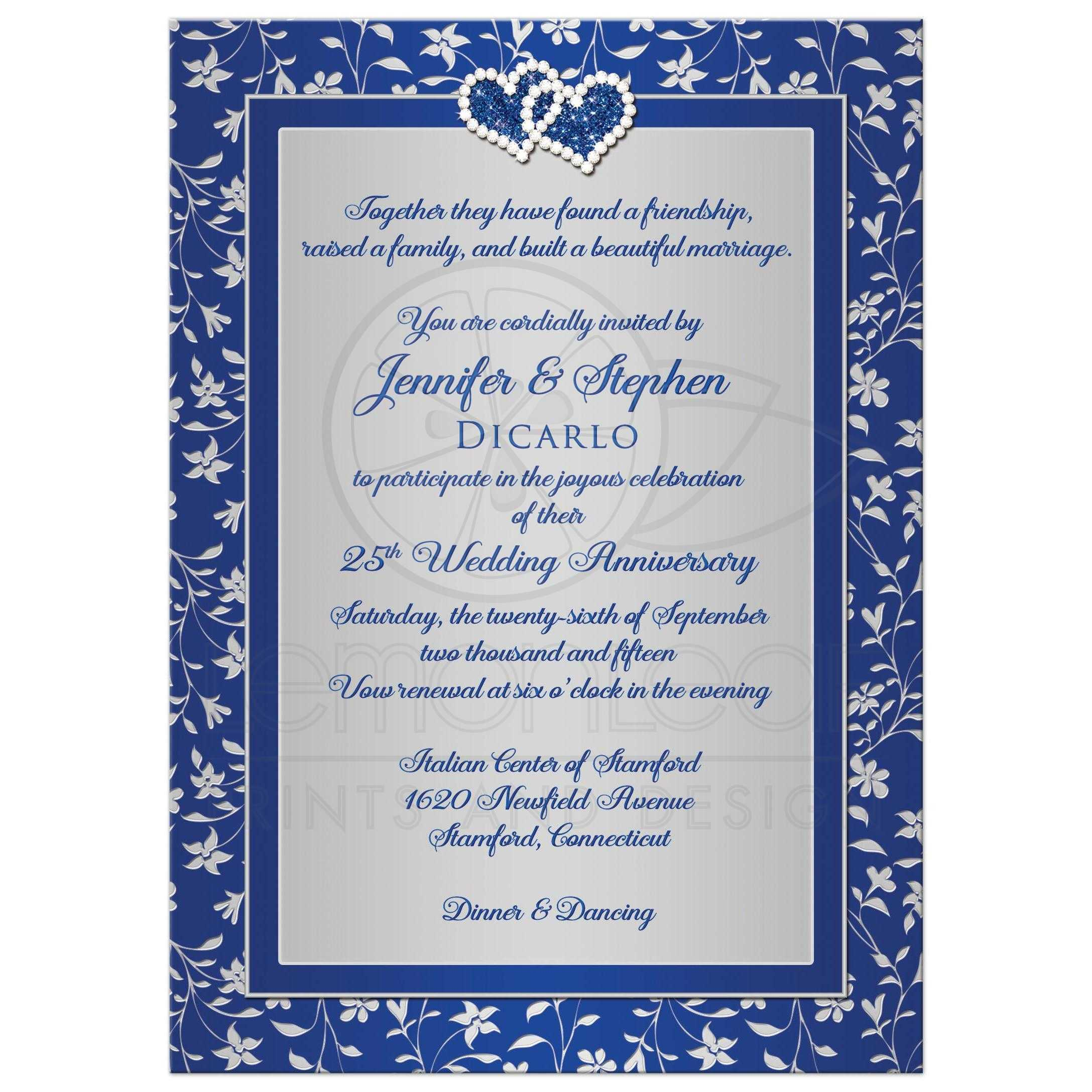 25th Wedding Anniversary Invitation 3 | Royal Blue, Silver Floral ...