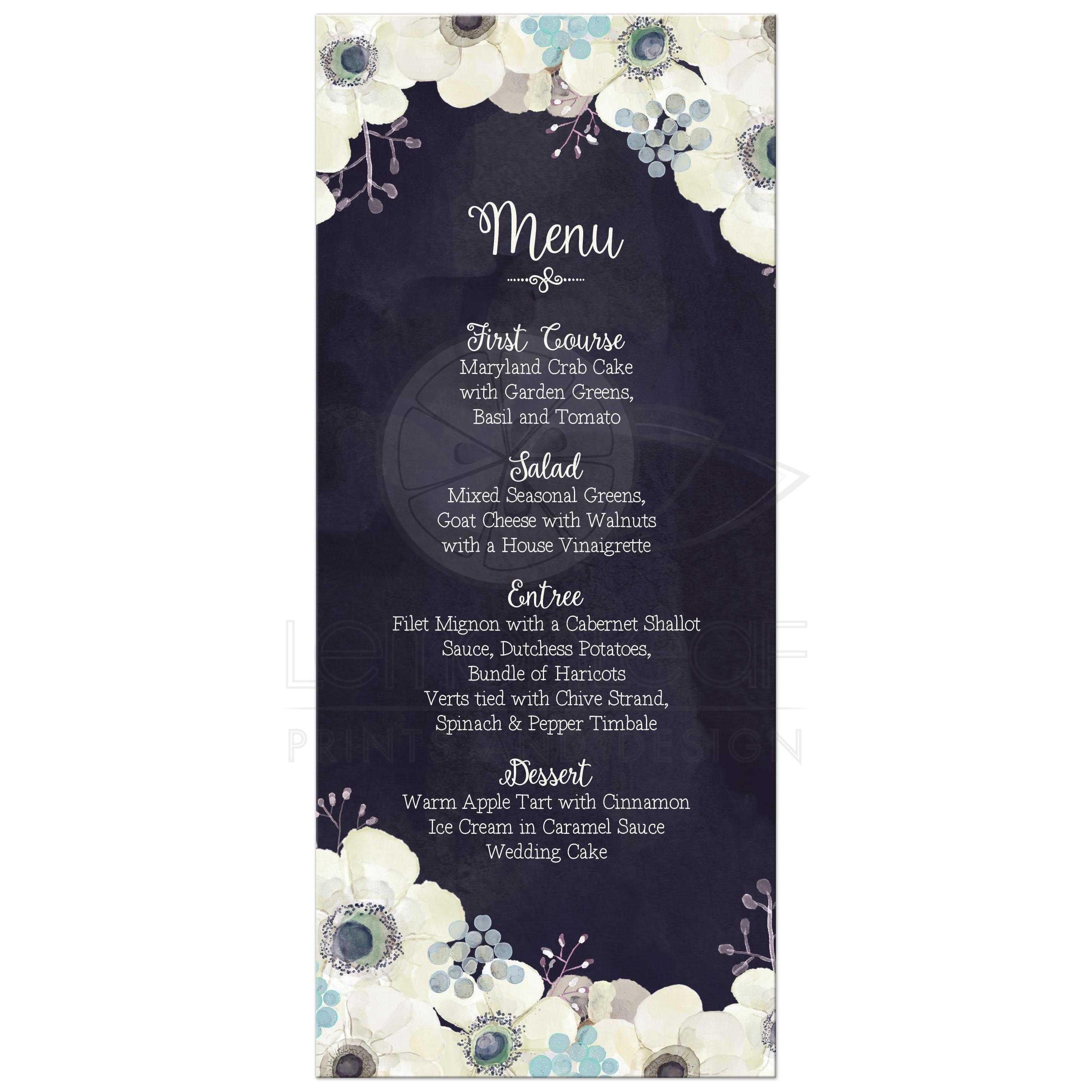 Wedding Food Menu - Watercolor Midnight Blue Purple Gray Flowers