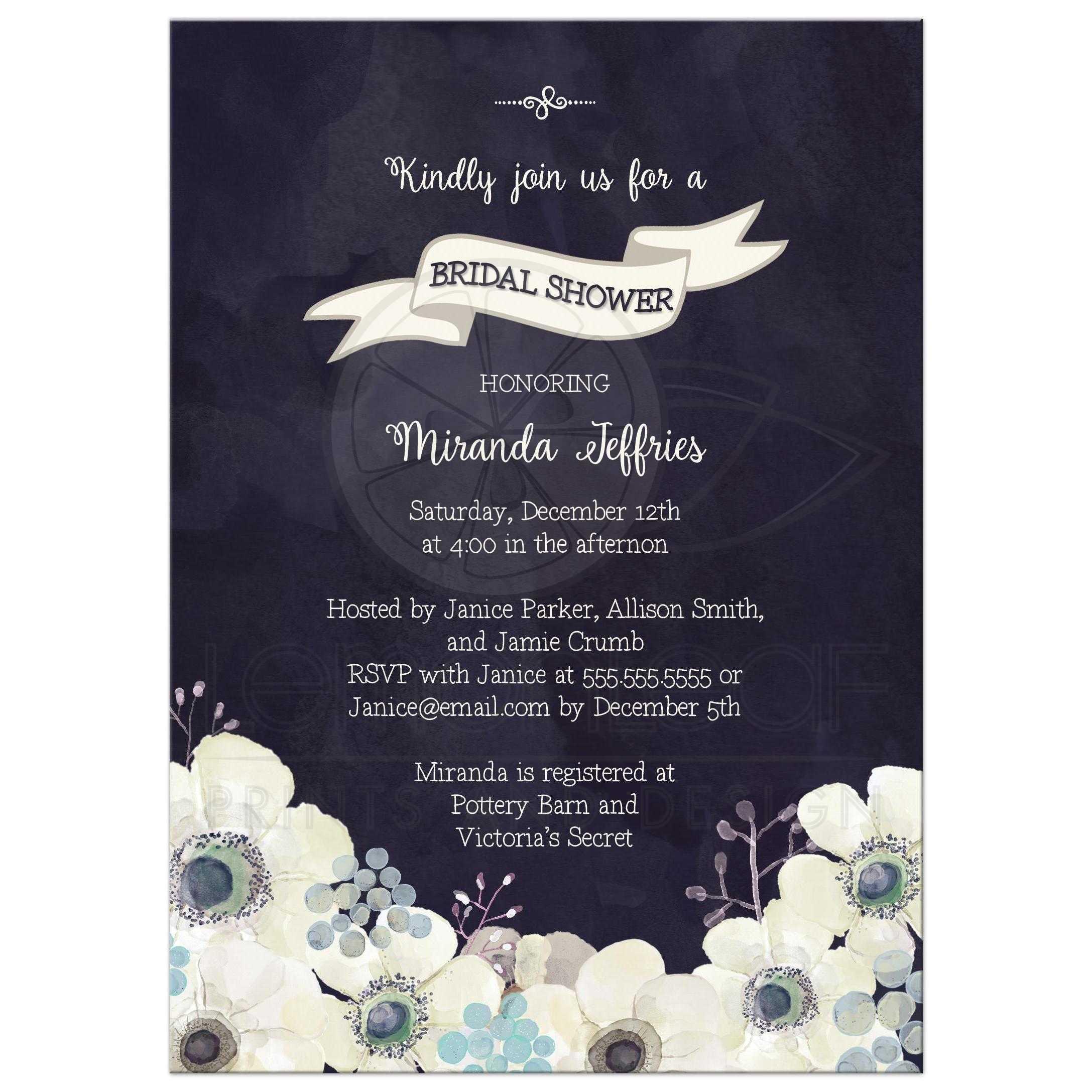Bridal shower invitation watercolor midnight blue purple gray flowers midnight blue and plum purple floral bridal shower invite izmirmasajfo