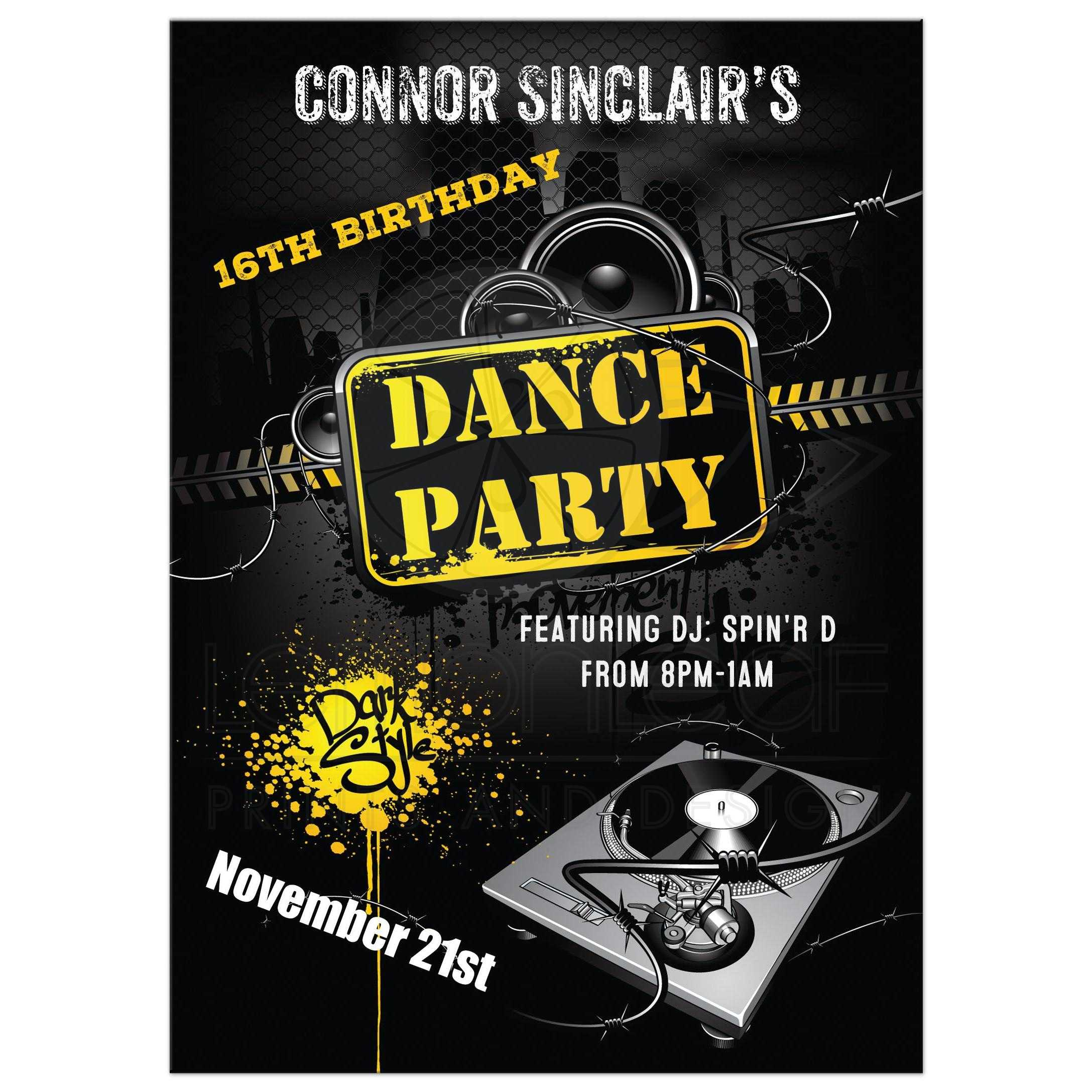 16th Birthday Party Invitation | Urban Grunge Dance Party