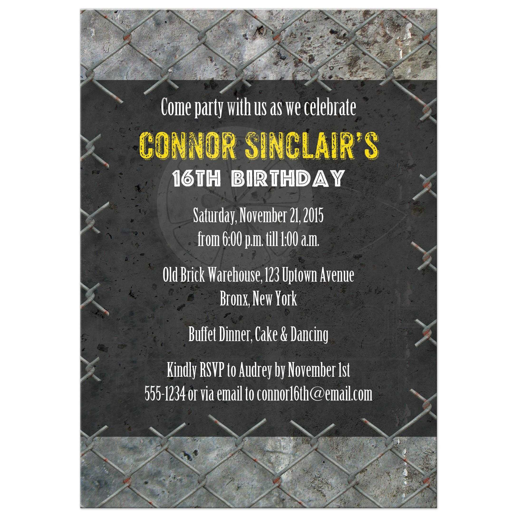 16th Birthday Party Invitation For A Teen Boy Urban Grunge Dance