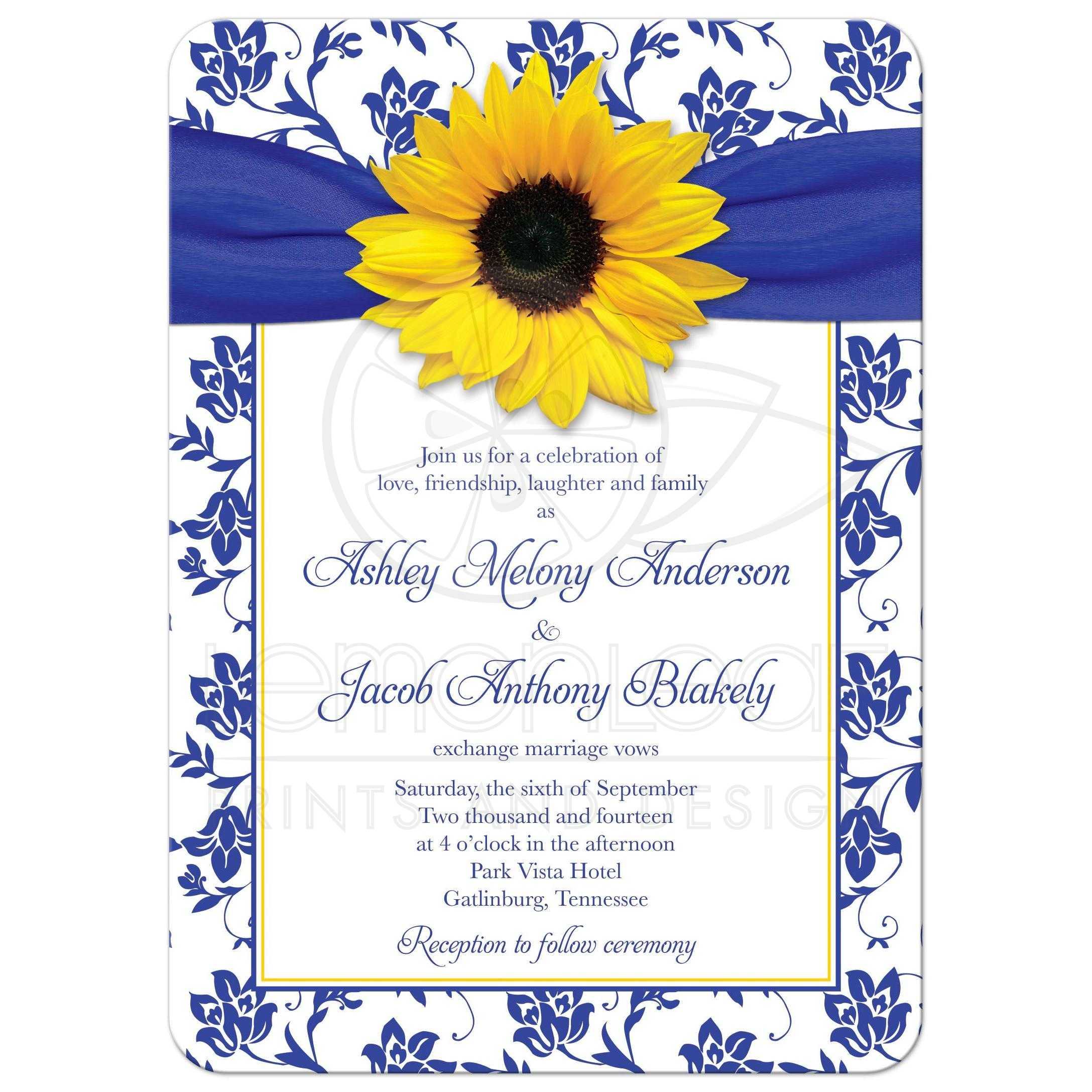 wedding invitation  sunflower damask royal blue yellow
