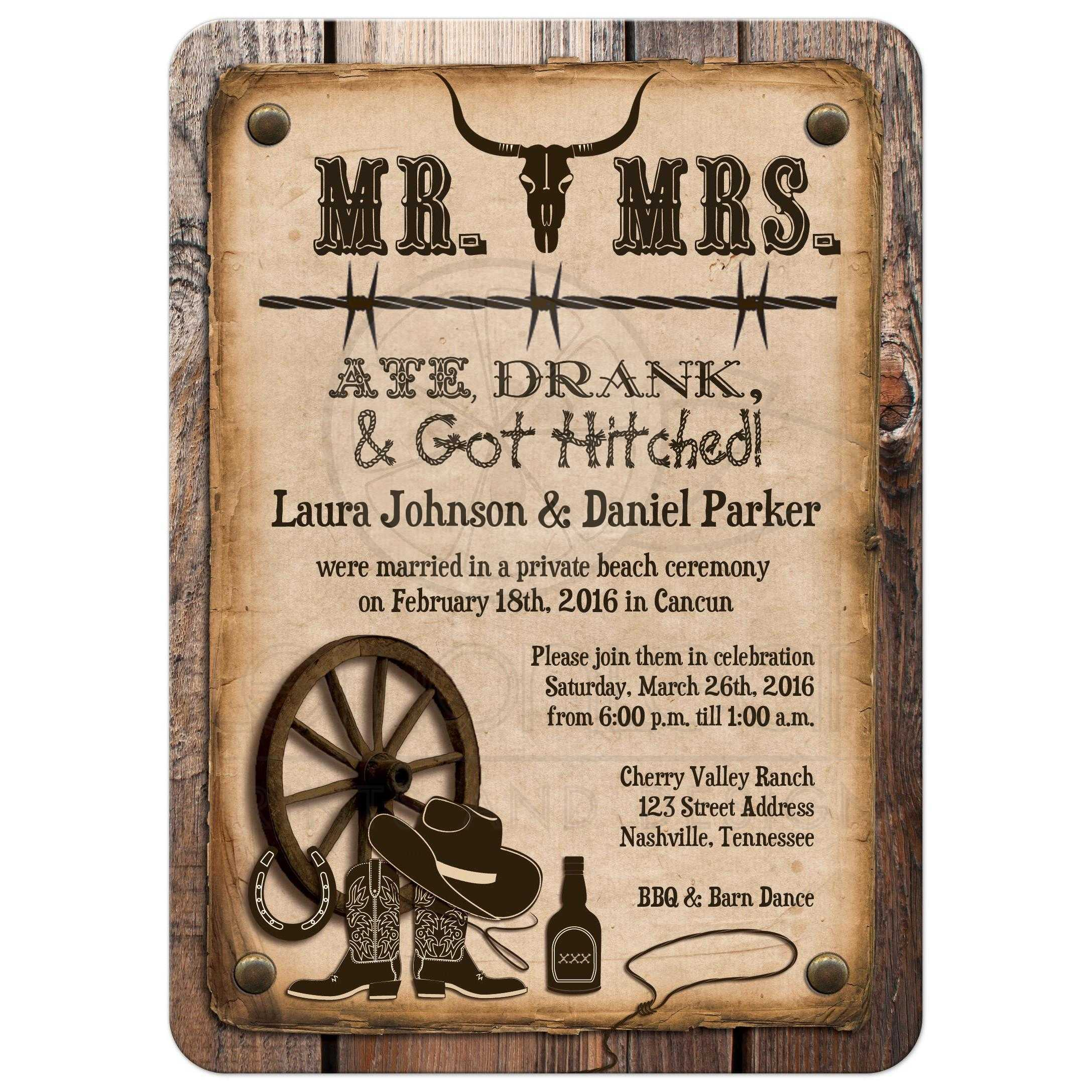 post wedding invitation rustic mr mrs western ate drank