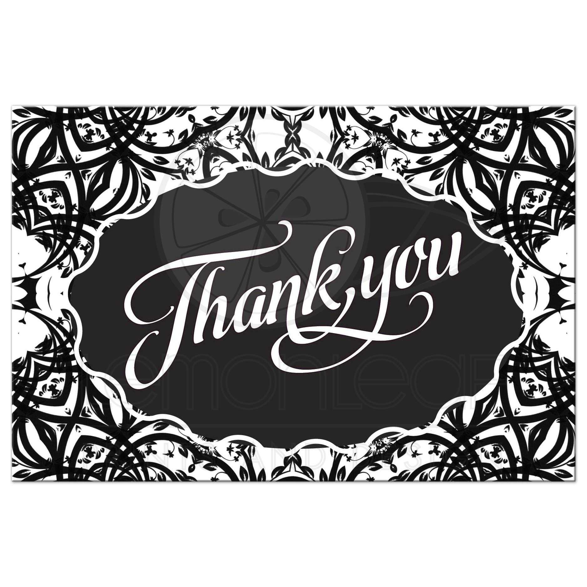 black white leafy vine thank you postcard