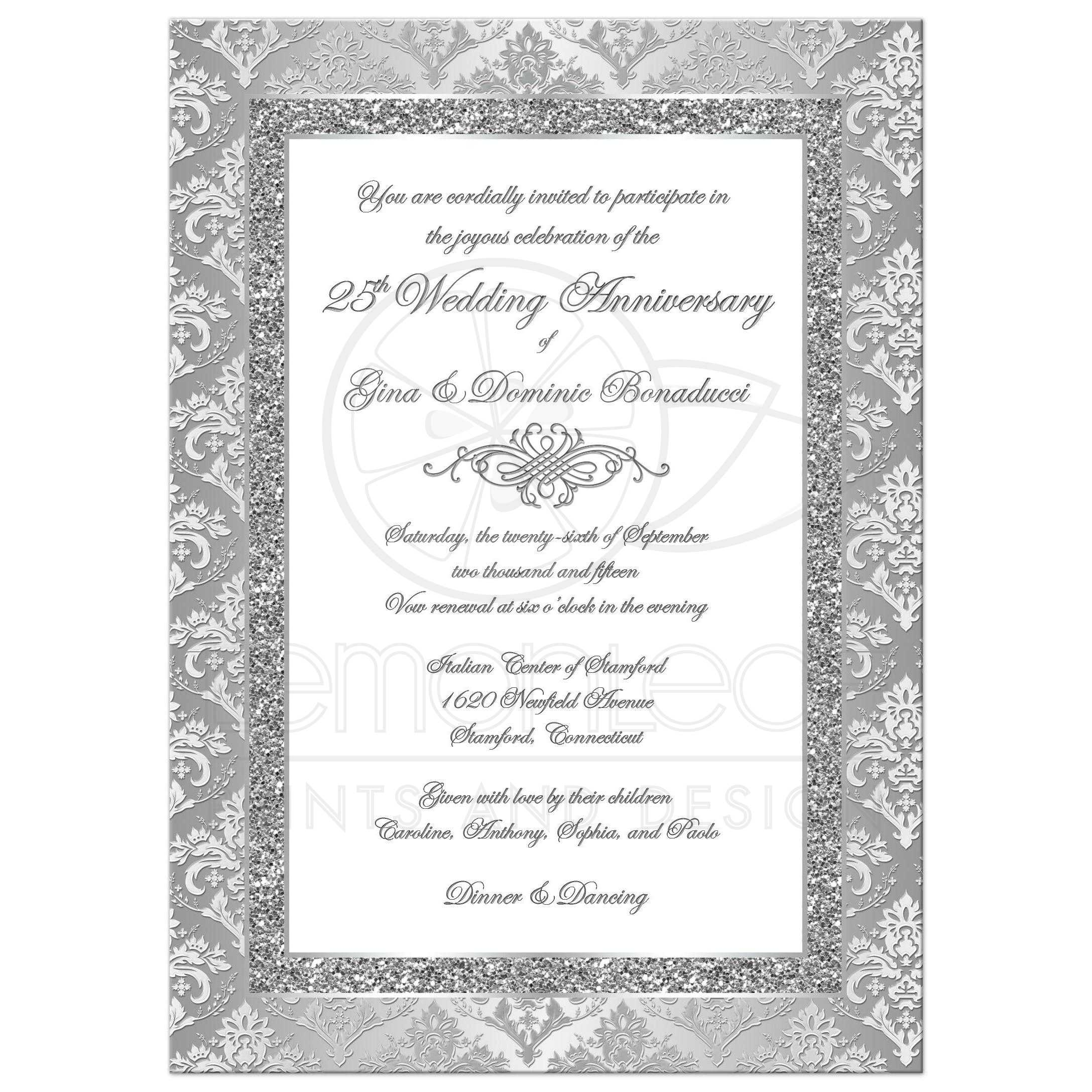 25th Wedding Anniversary Invitation | Silver and White Damask 2 ...