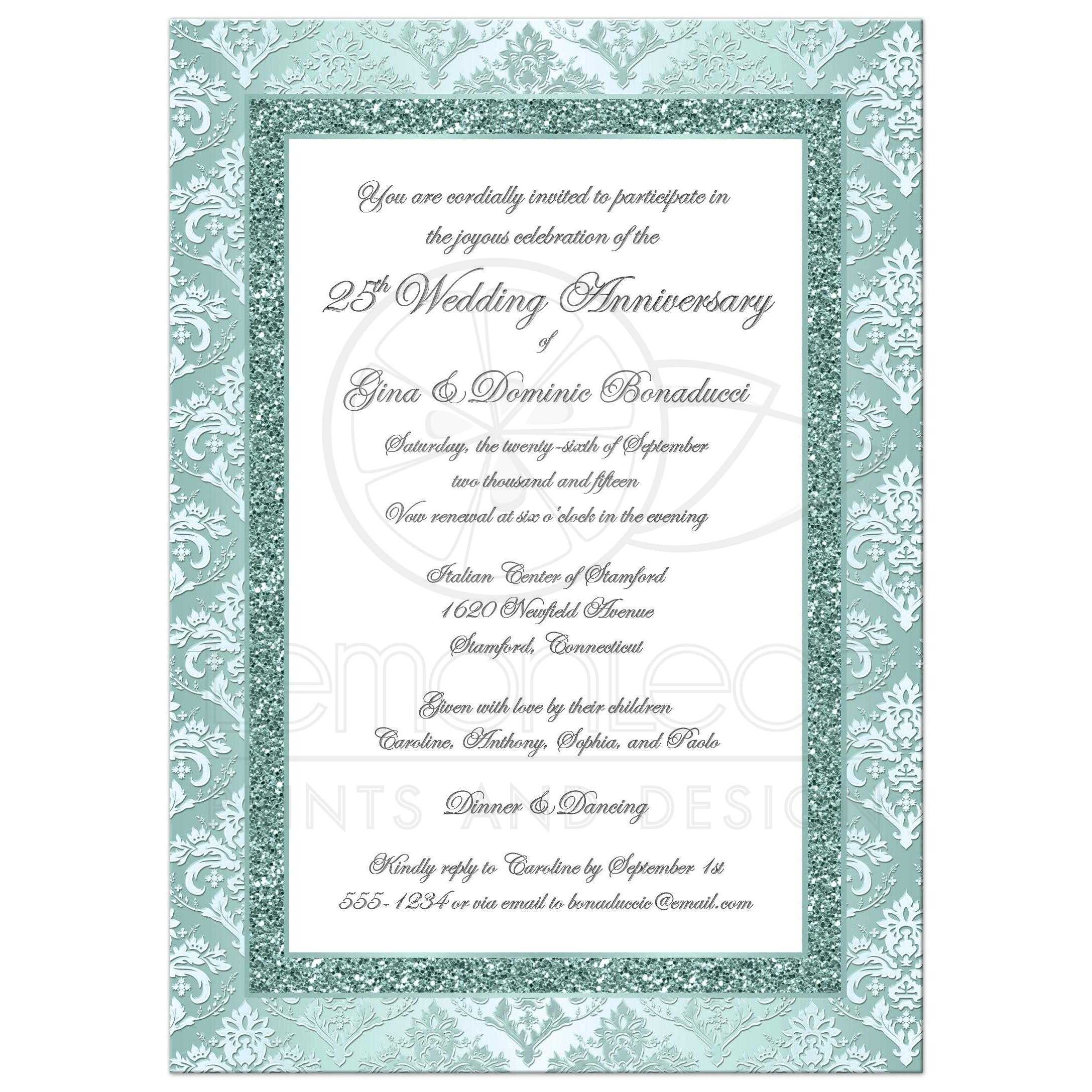 25th Wedding Anniversary Invitation | Seafoam and White Damask 2 ...