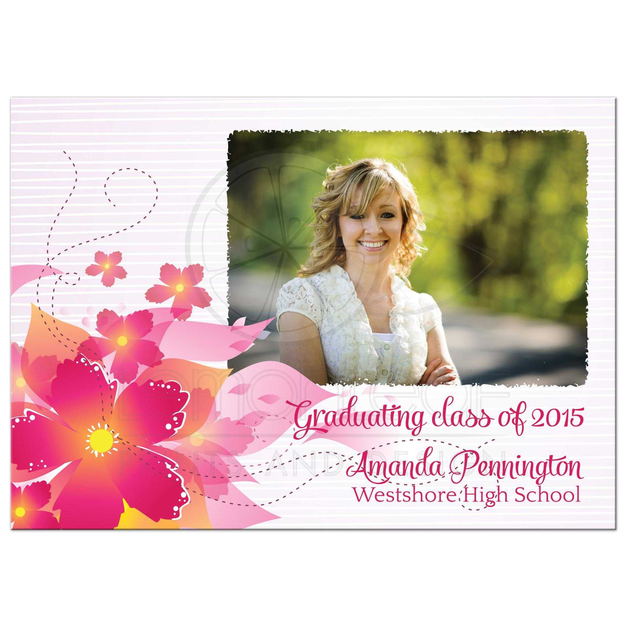 Hot pink floral photo graduation party invite announcement ...