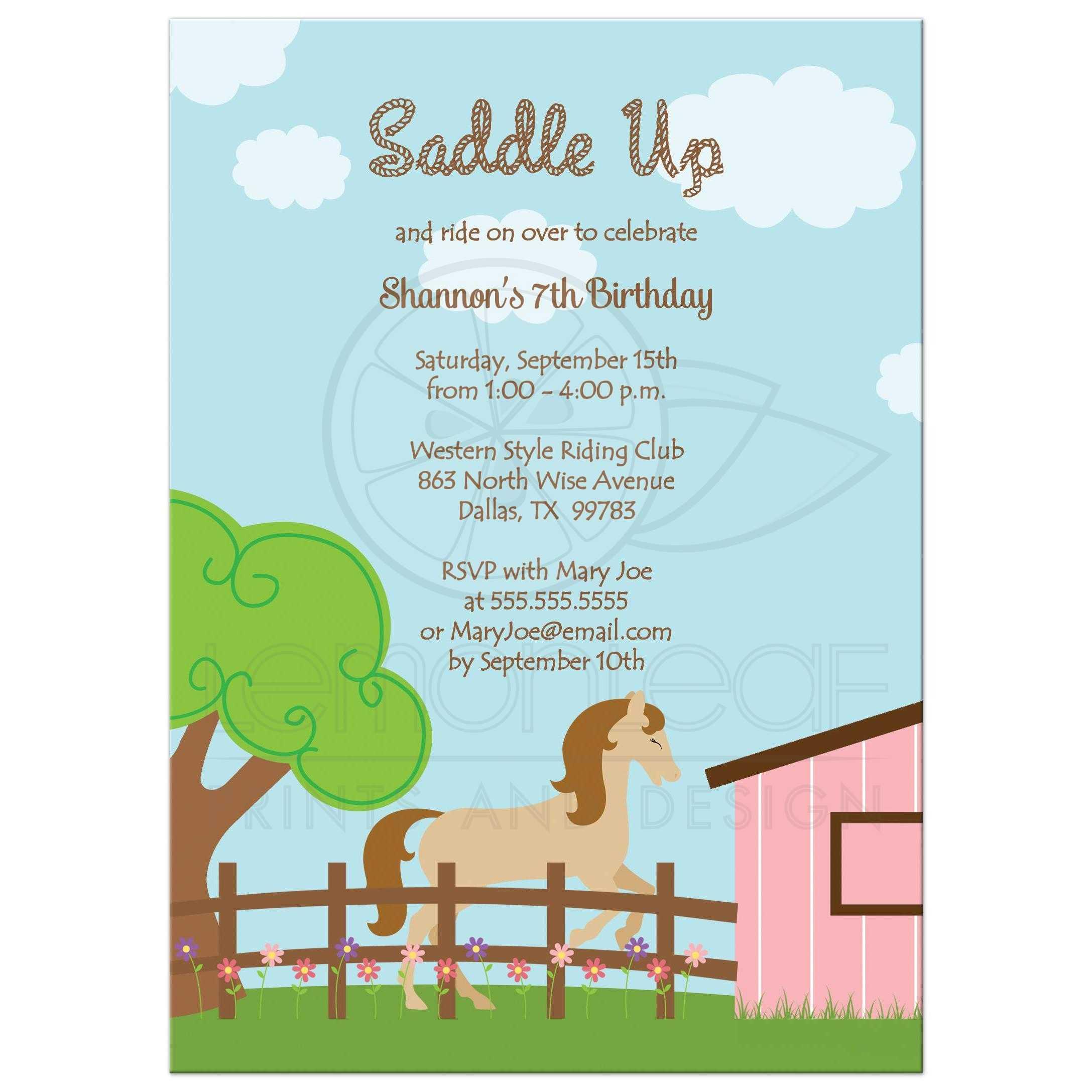 Birthday Party Invitation - Horse theme girl birthday