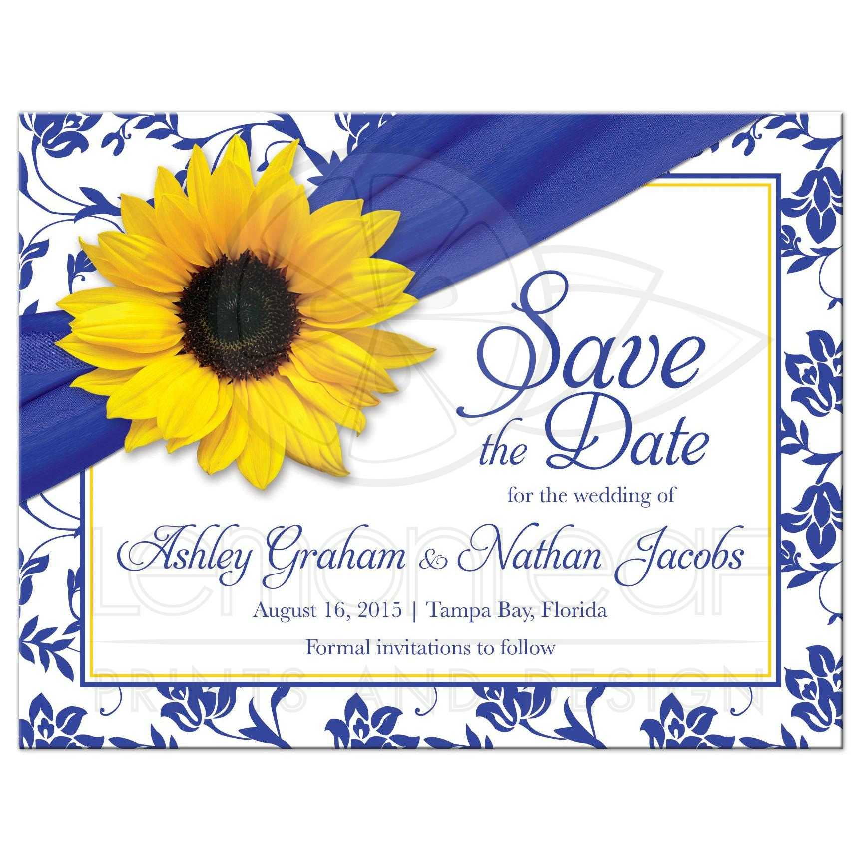 22559 Rectangle yellow sunflower royal blue and white damask wedding save the date invitation or postcard front - Royal Wedding Announcement