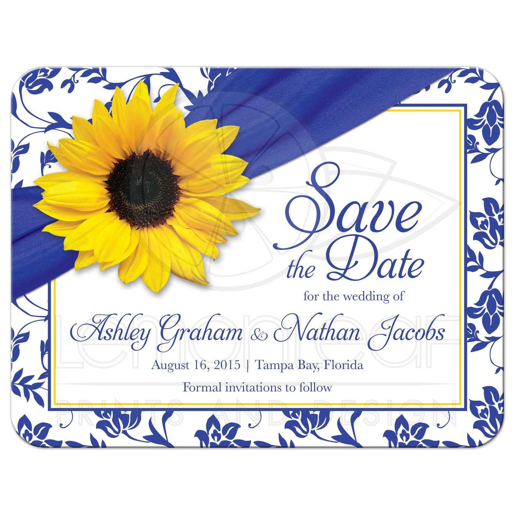 Wedding White And Yellow: Wedding Save The Date Announcement Sunflower Royal Blue Damask