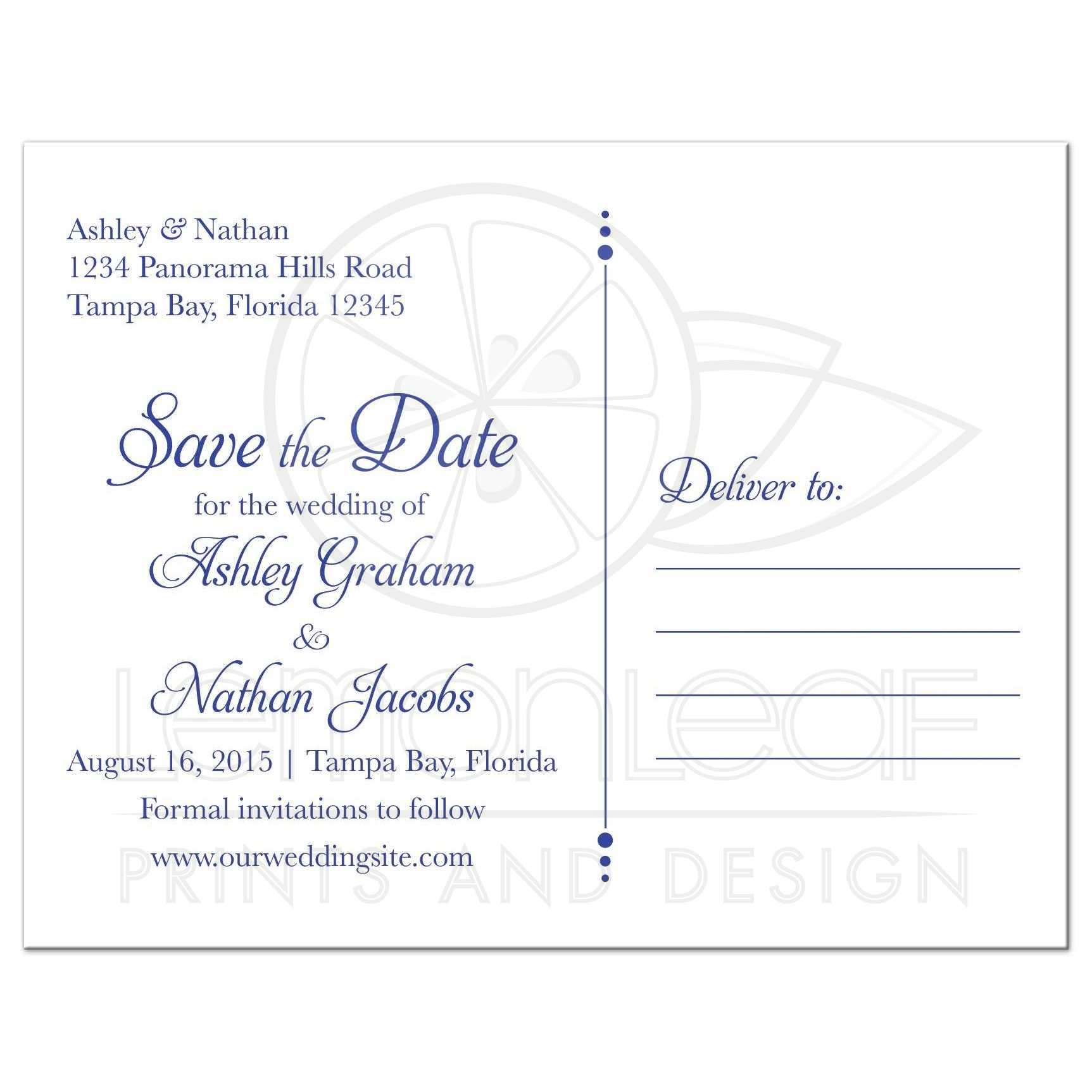 Wedding Save the Date Postcard Sunflower Royal Blue Damask