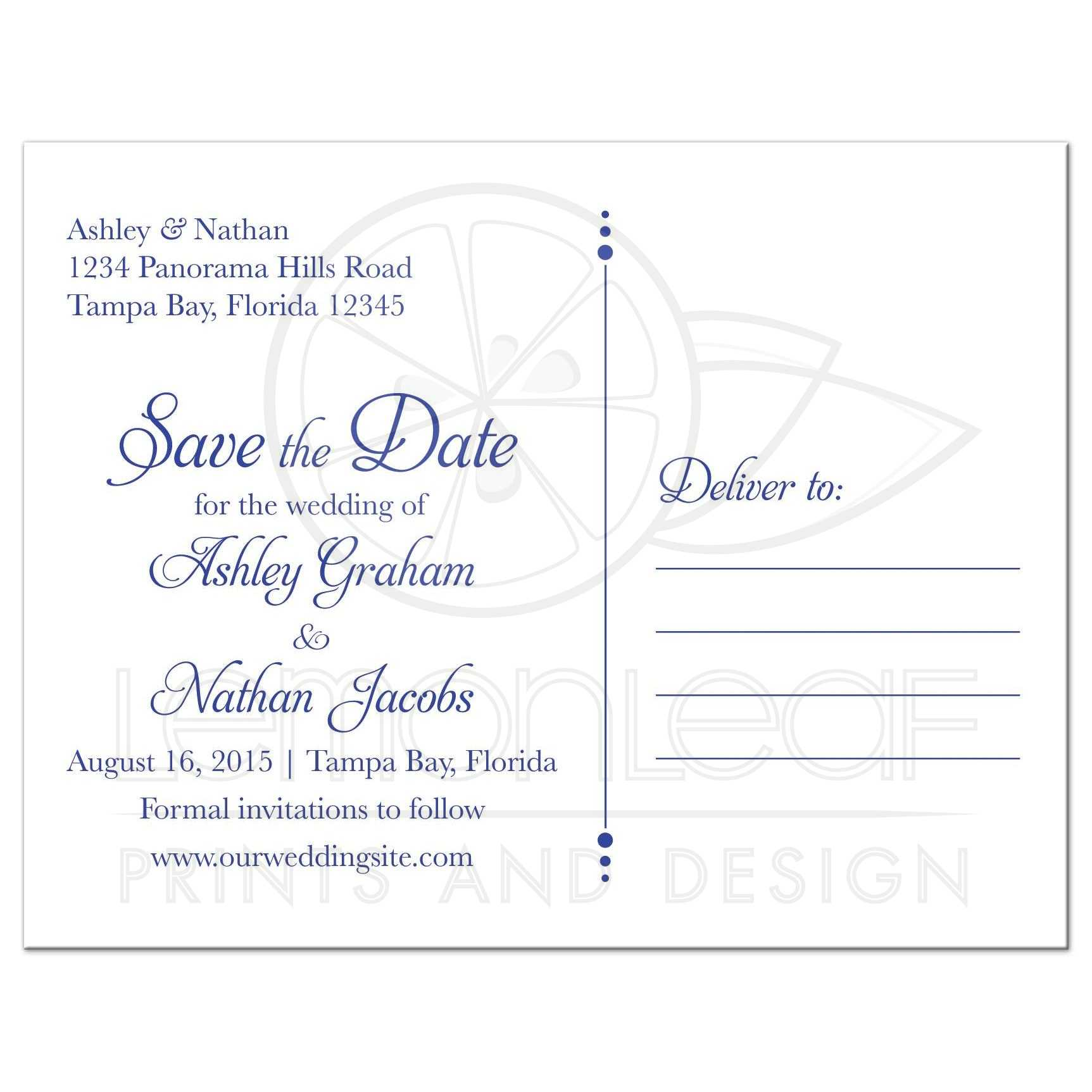 Wedding Save the Date Postcard Sunflower Royal Blue Damask