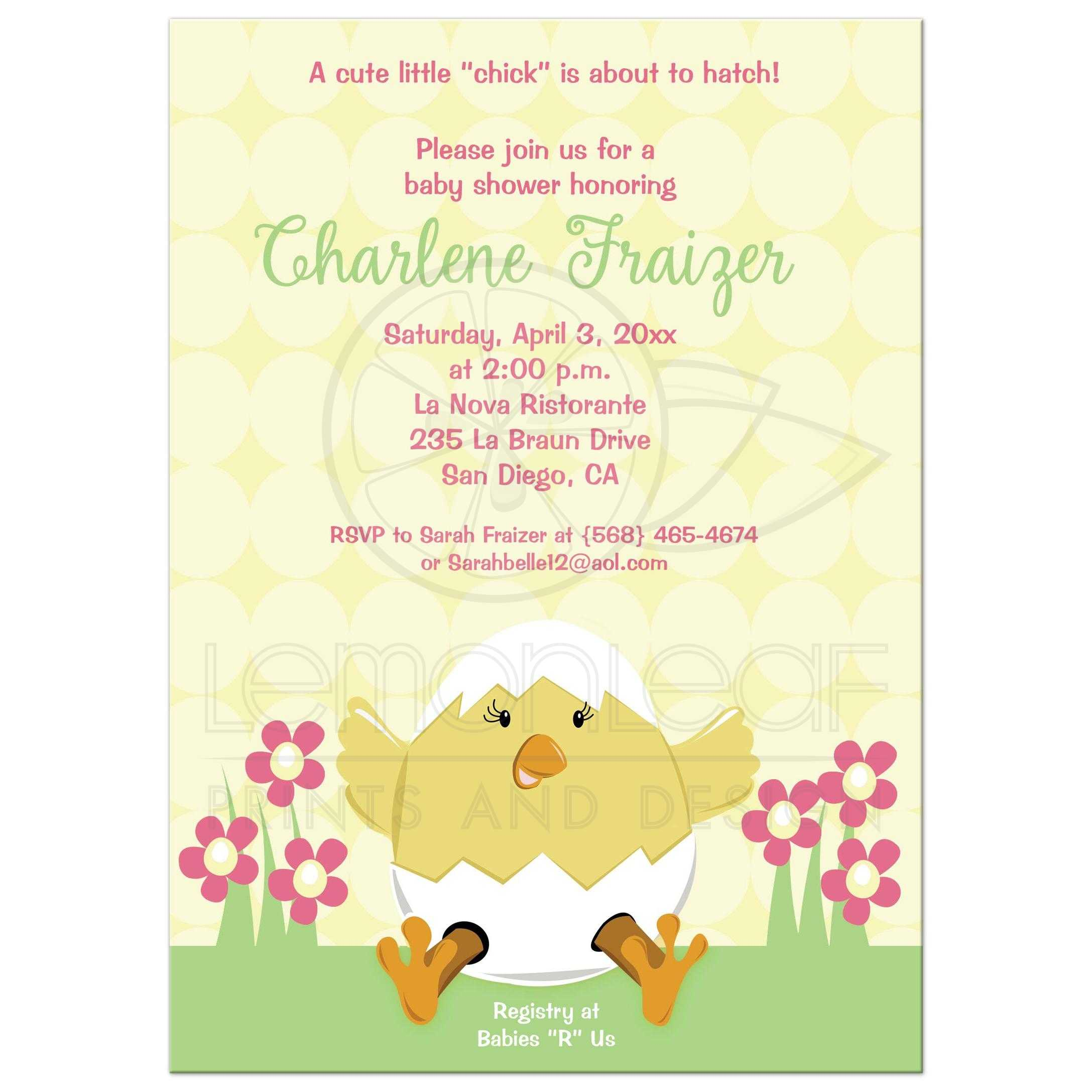 Hatching Easter Baby Shower Invitation Yellow
