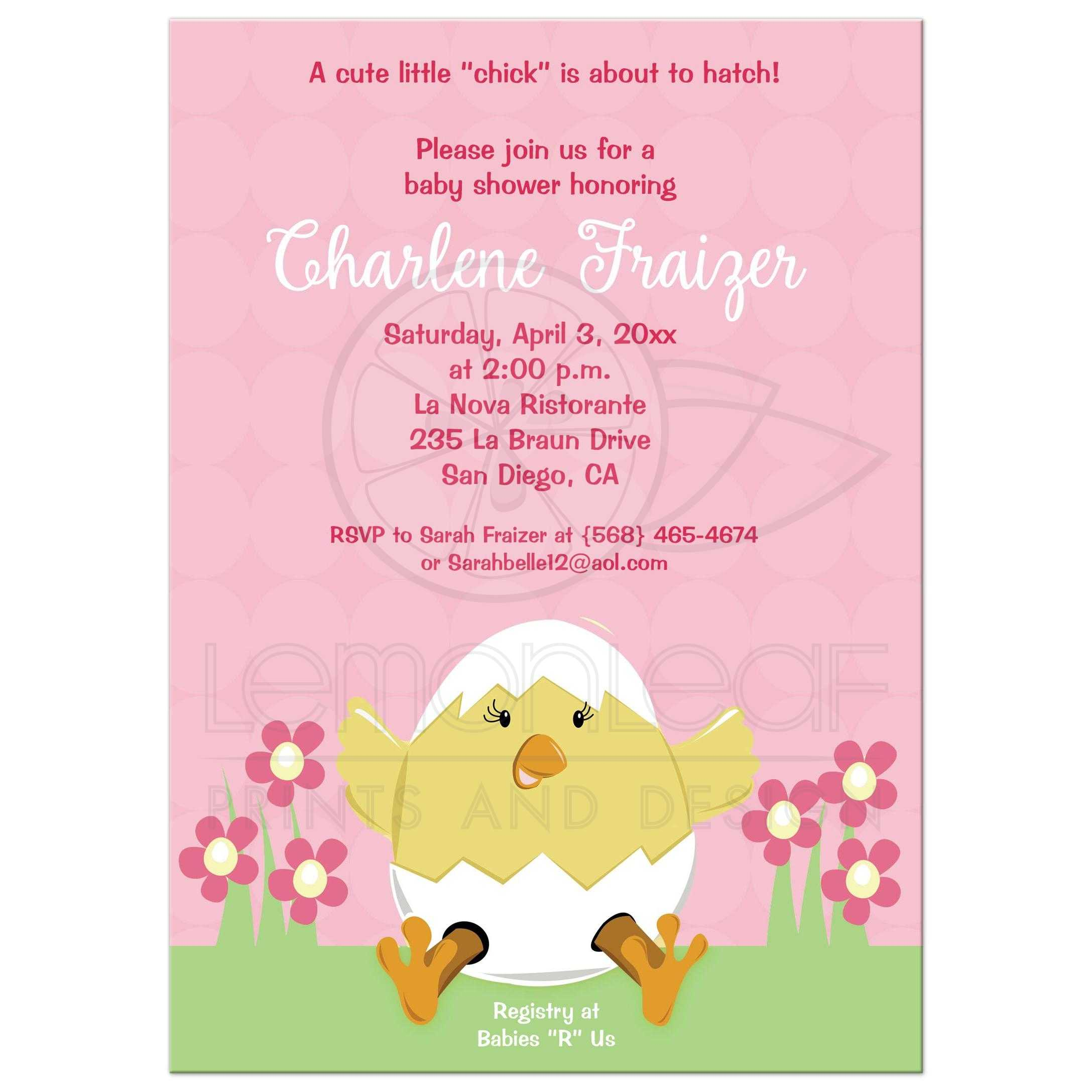 Hatching Easter Baby Shower Invitation Pink