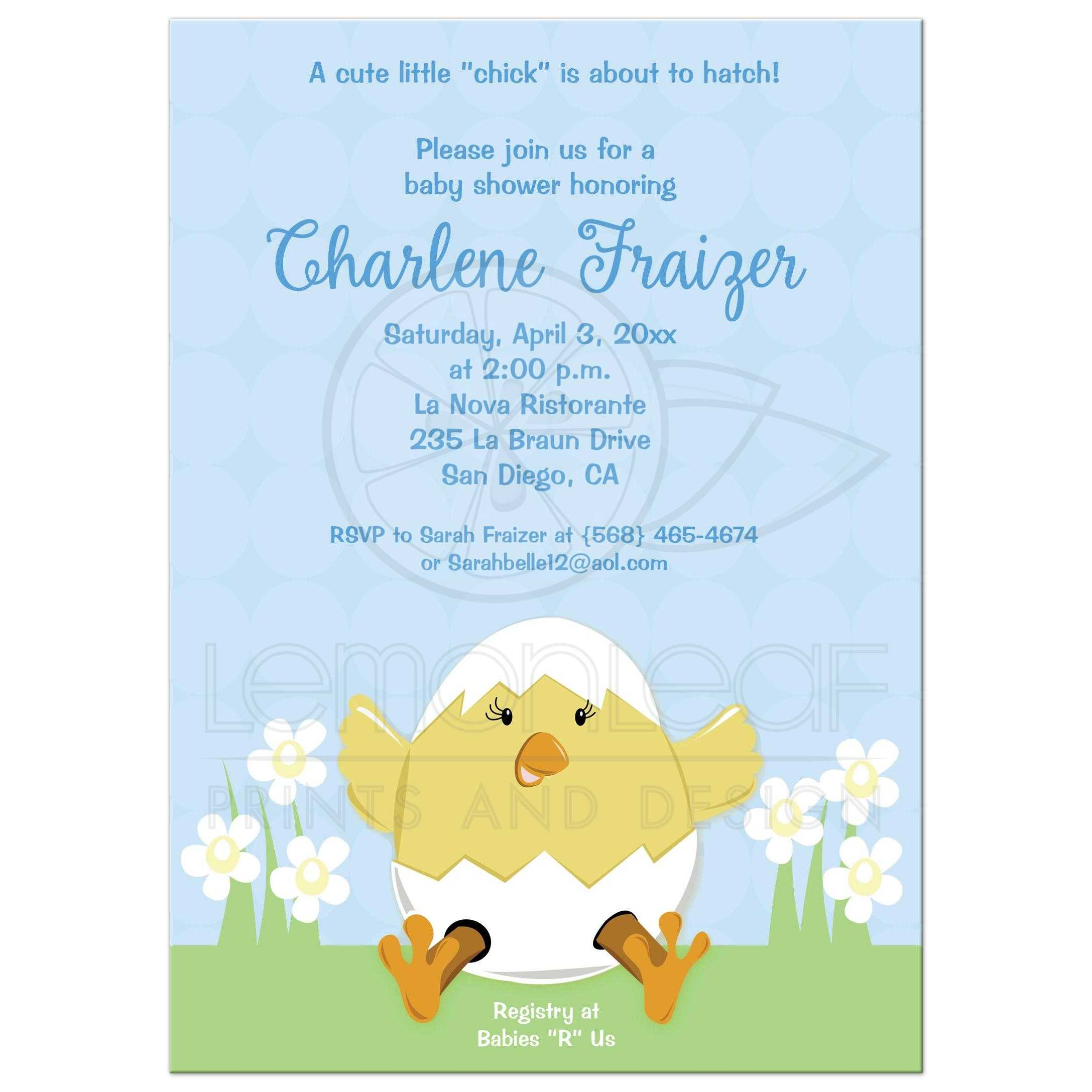 Hatching Easter Baby Shower Invitation Blue