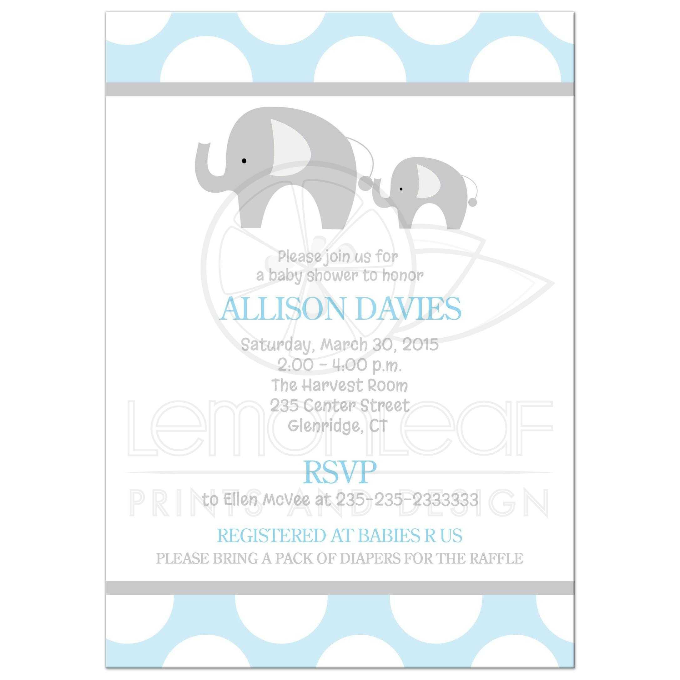 Mod Elephant Blue Baby Shower Invitation